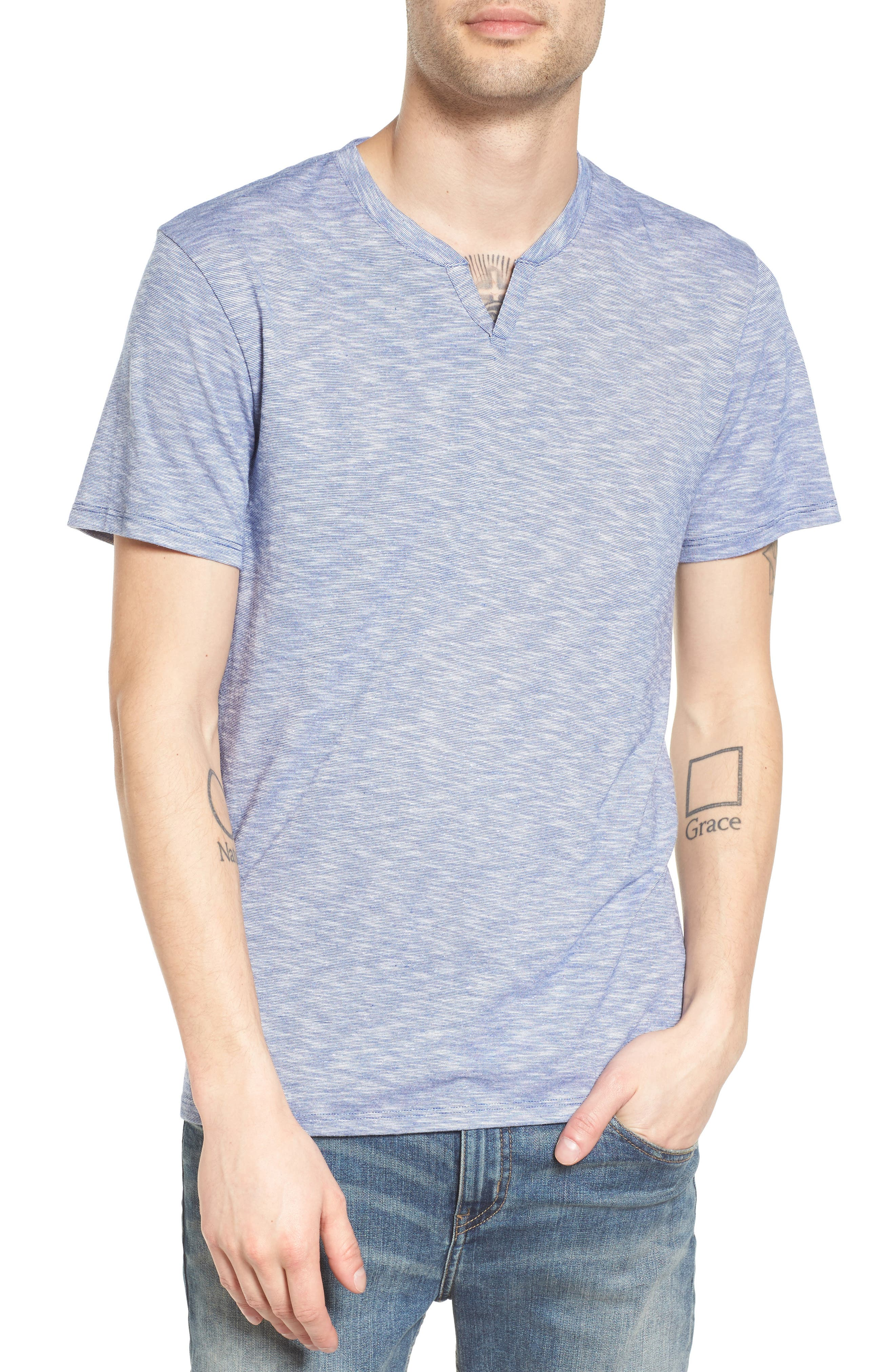 THE RAIL Slub Feeder Stripe Split Neck T-Shirt