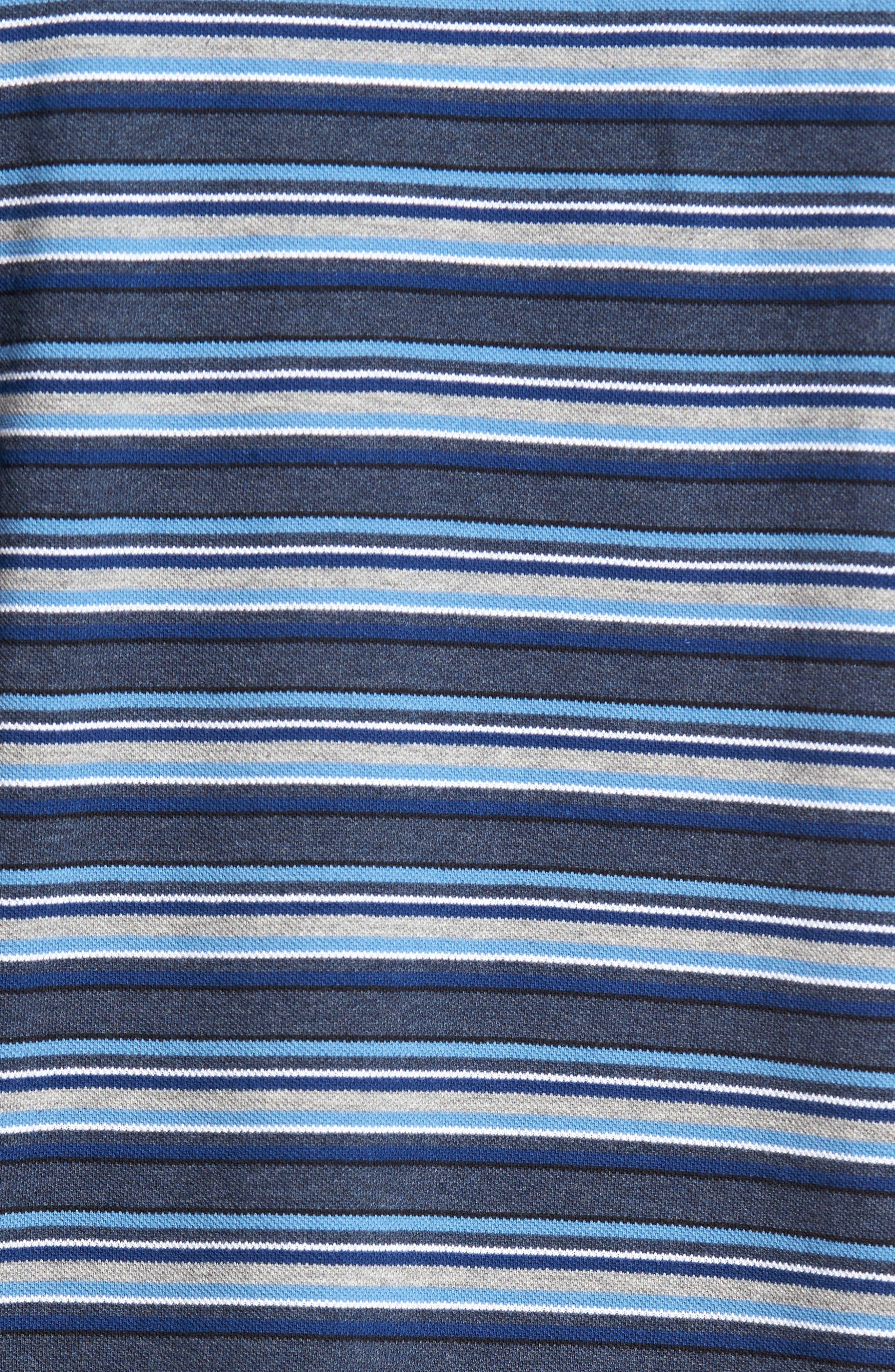 MacDonald Downs Sports Fit Stripe Piqué Polo,                             Alternate thumbnail 5, color,                             Denim