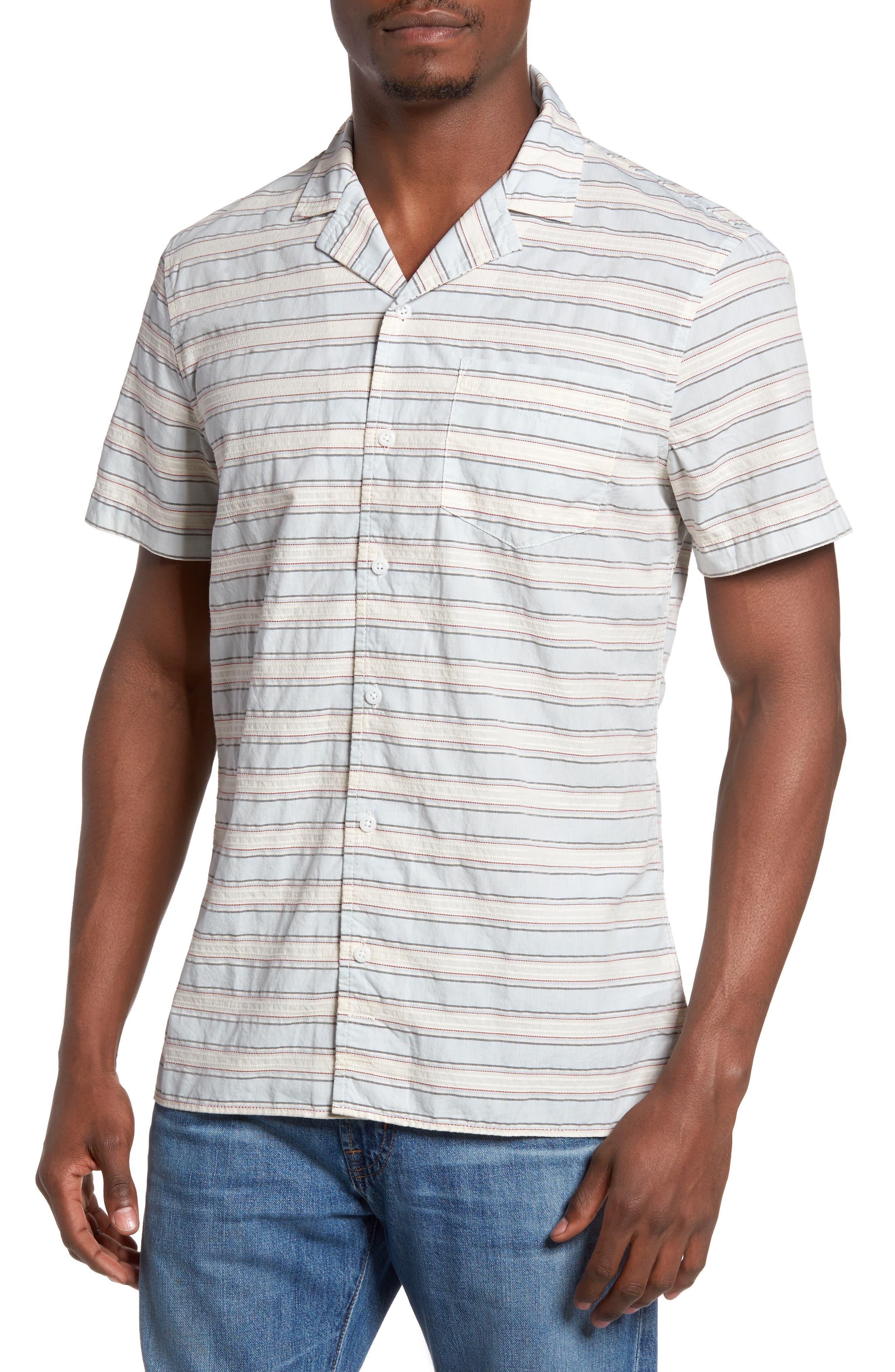 Jacquard Stripe Camp Shirt,                         Main,                         color, Blue Dusk Jacquard Stripe