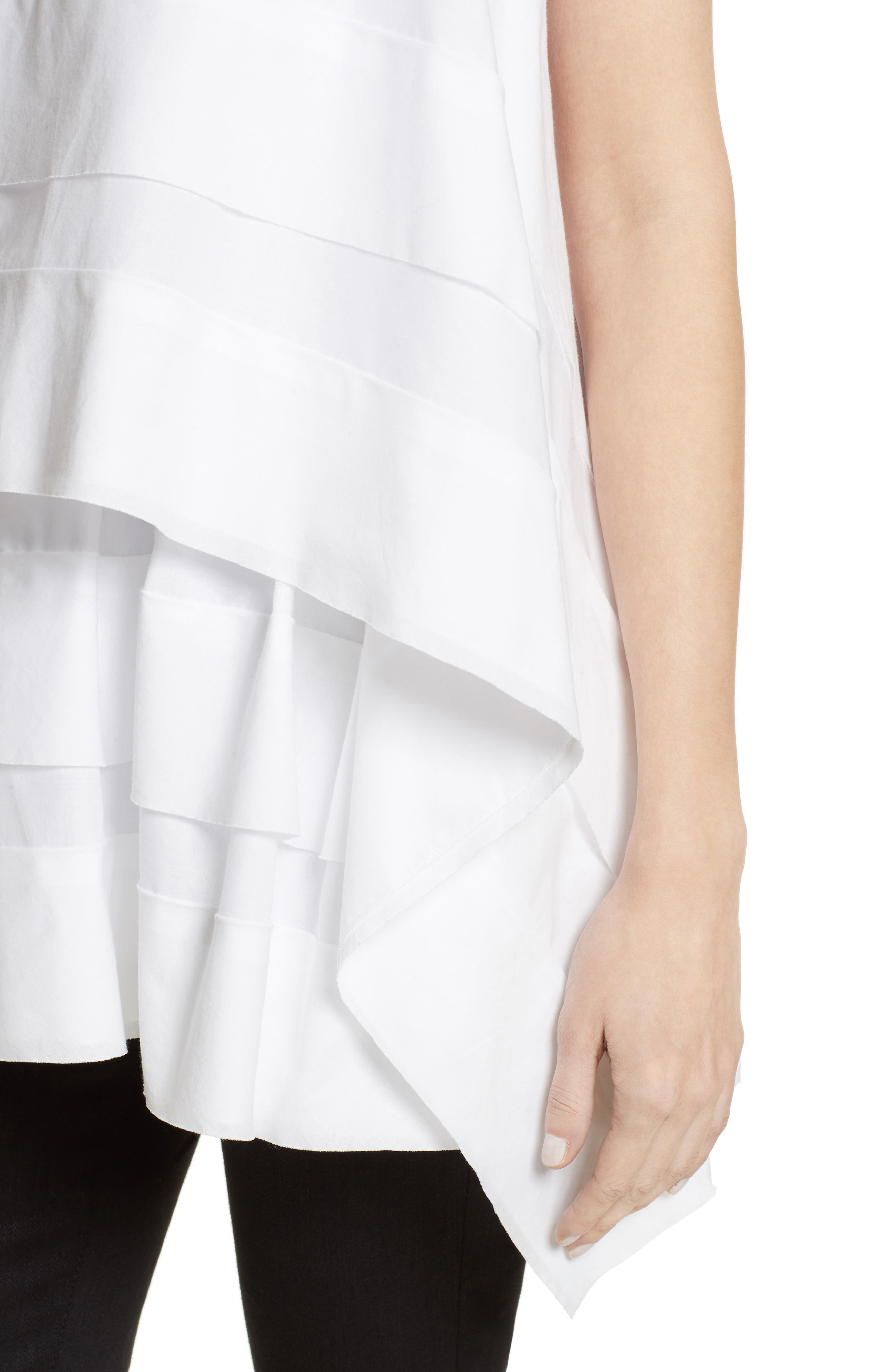 Asymmetrical Ruffle Tee,                             Alternate thumbnail 4, color,                             White