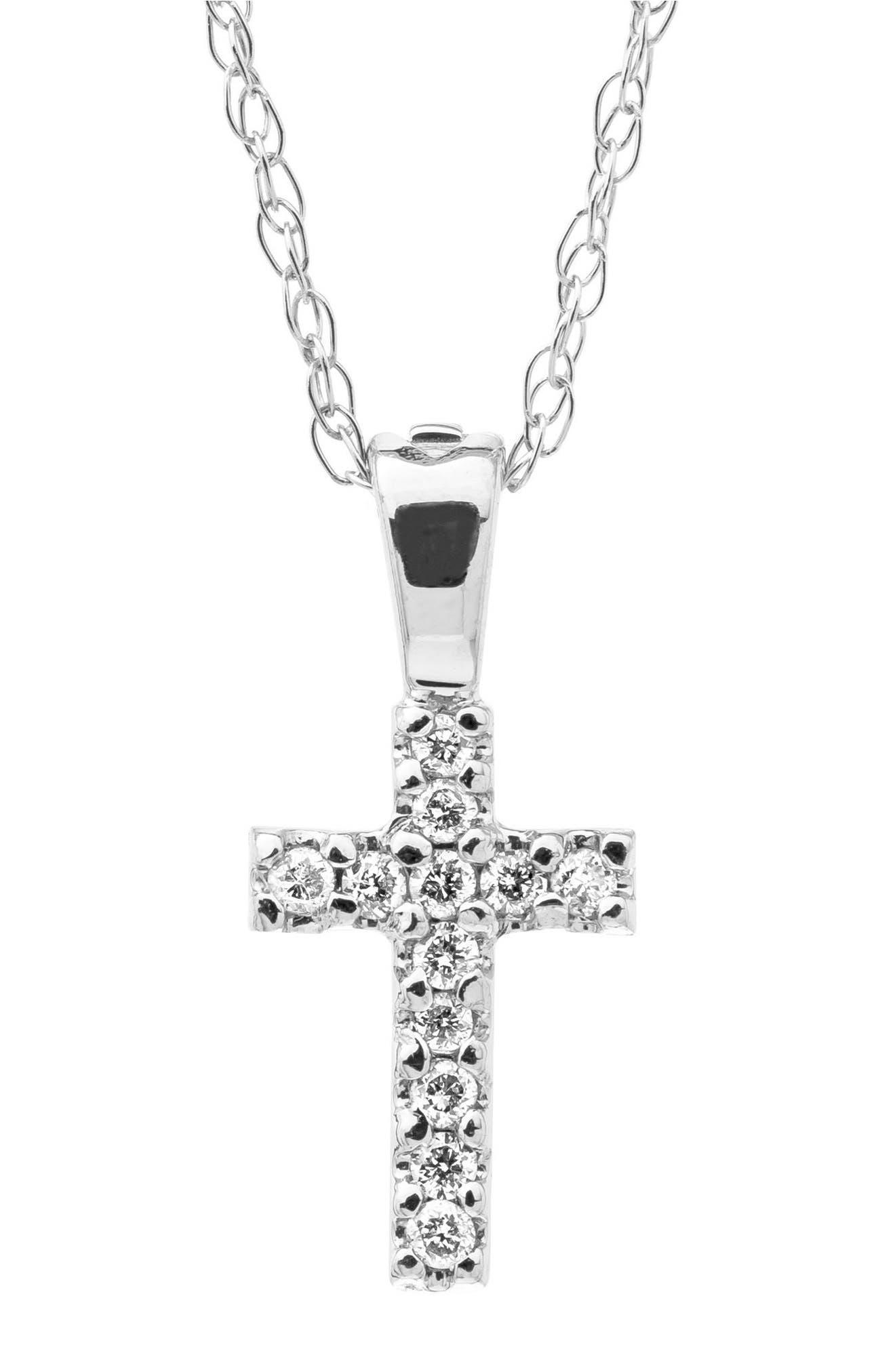 Main Image - Mignonette 14k White Gold & Diamond Cross Necklace (Baby Girls)