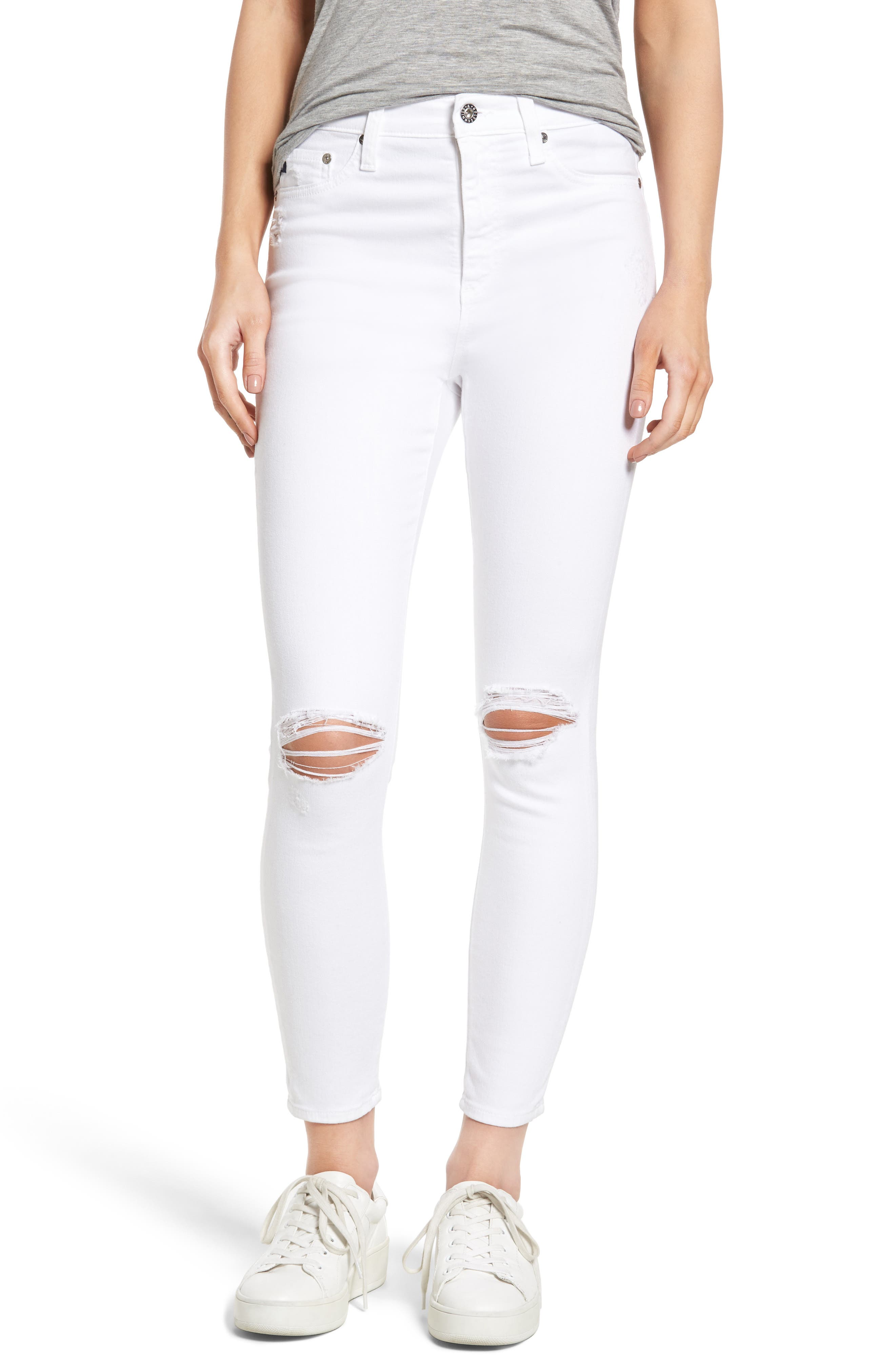 Mila Ripped High Waist Ankle Skinny Jeans,                         Main,                         color, White Impressions