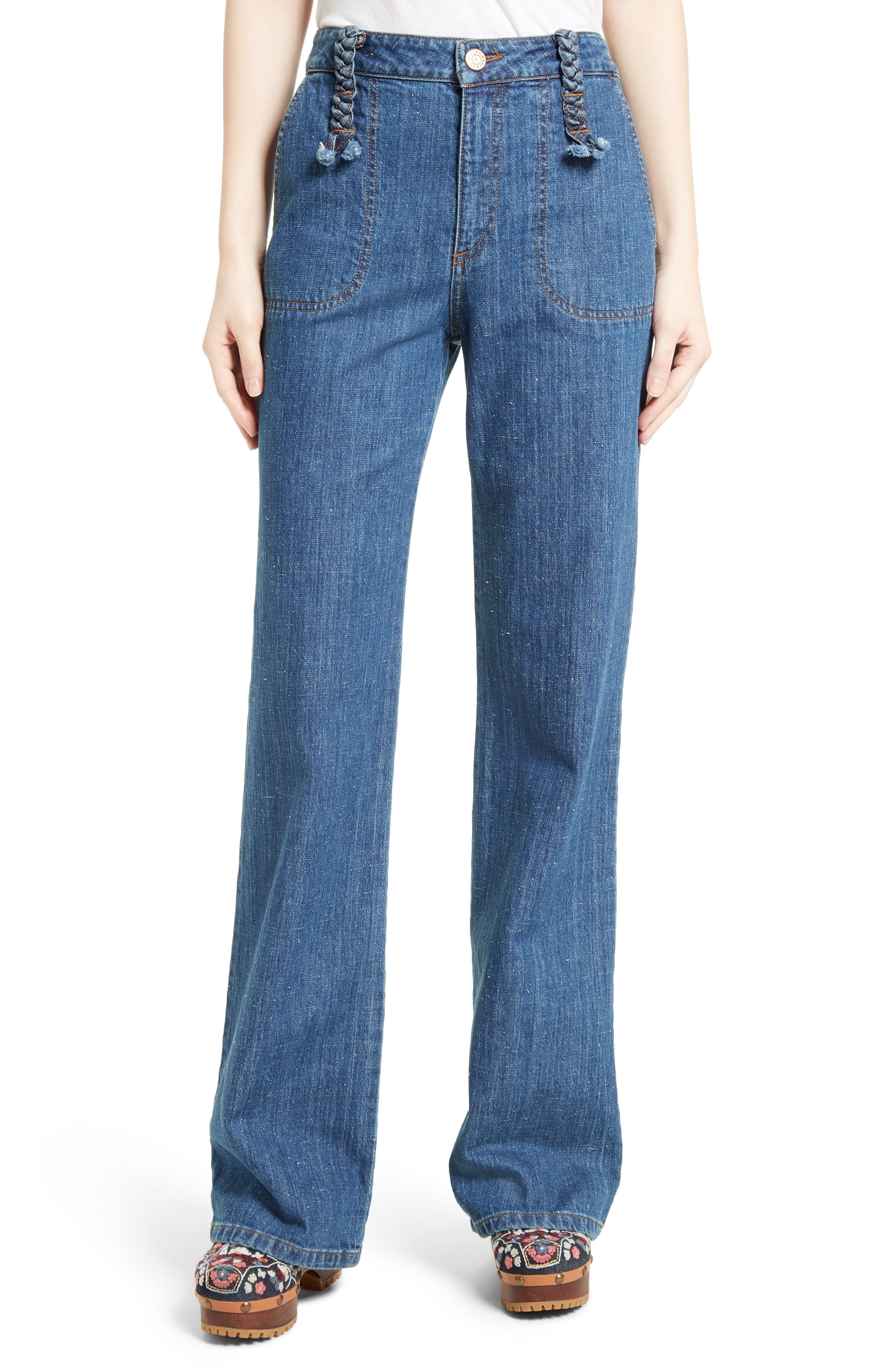 Wide Leg Denim Trousers,                         Main,                         color, Washed Indigo