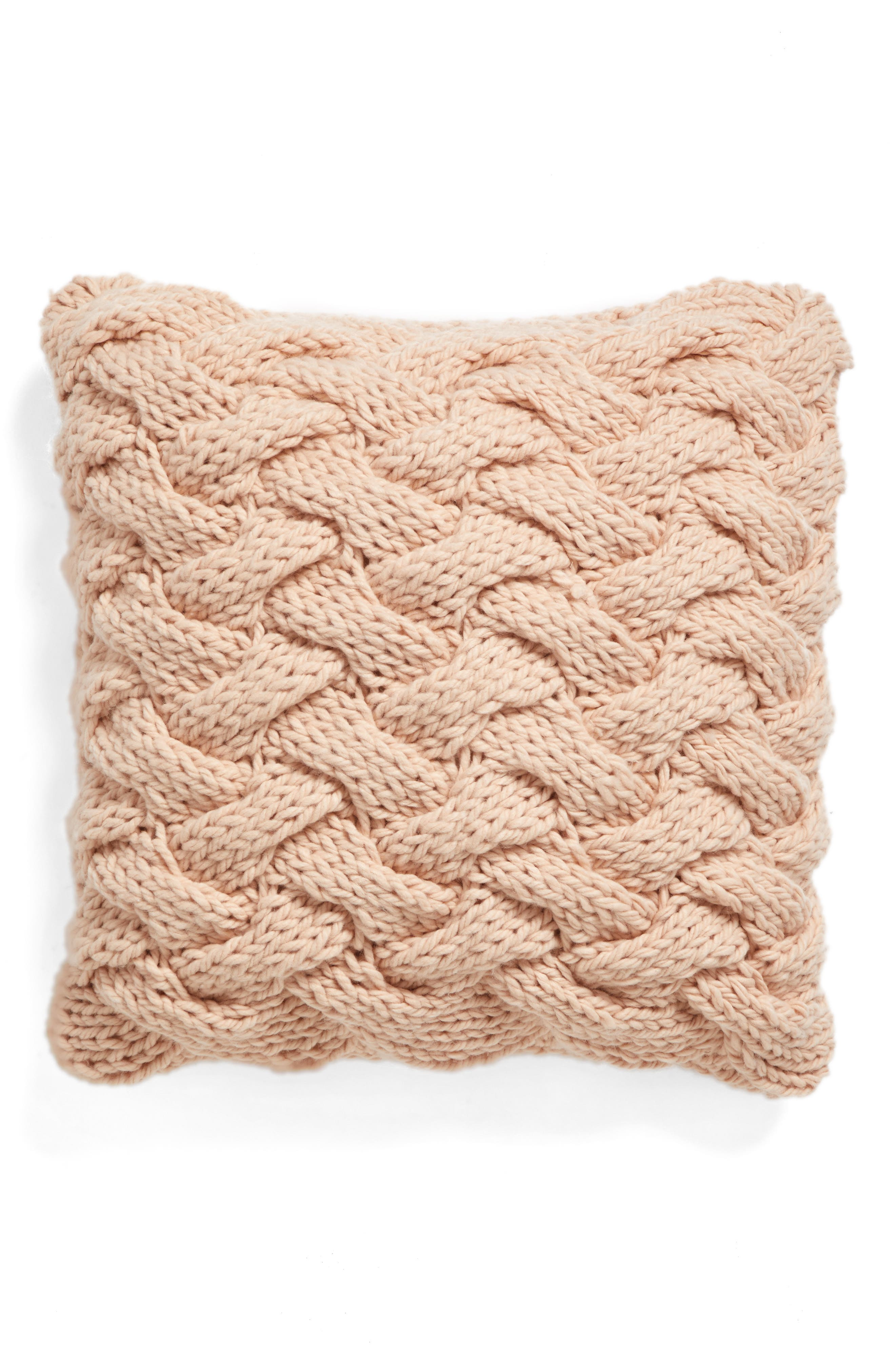 Basket Weave Accent Pillow,                         Main,                         color, Pink Hero