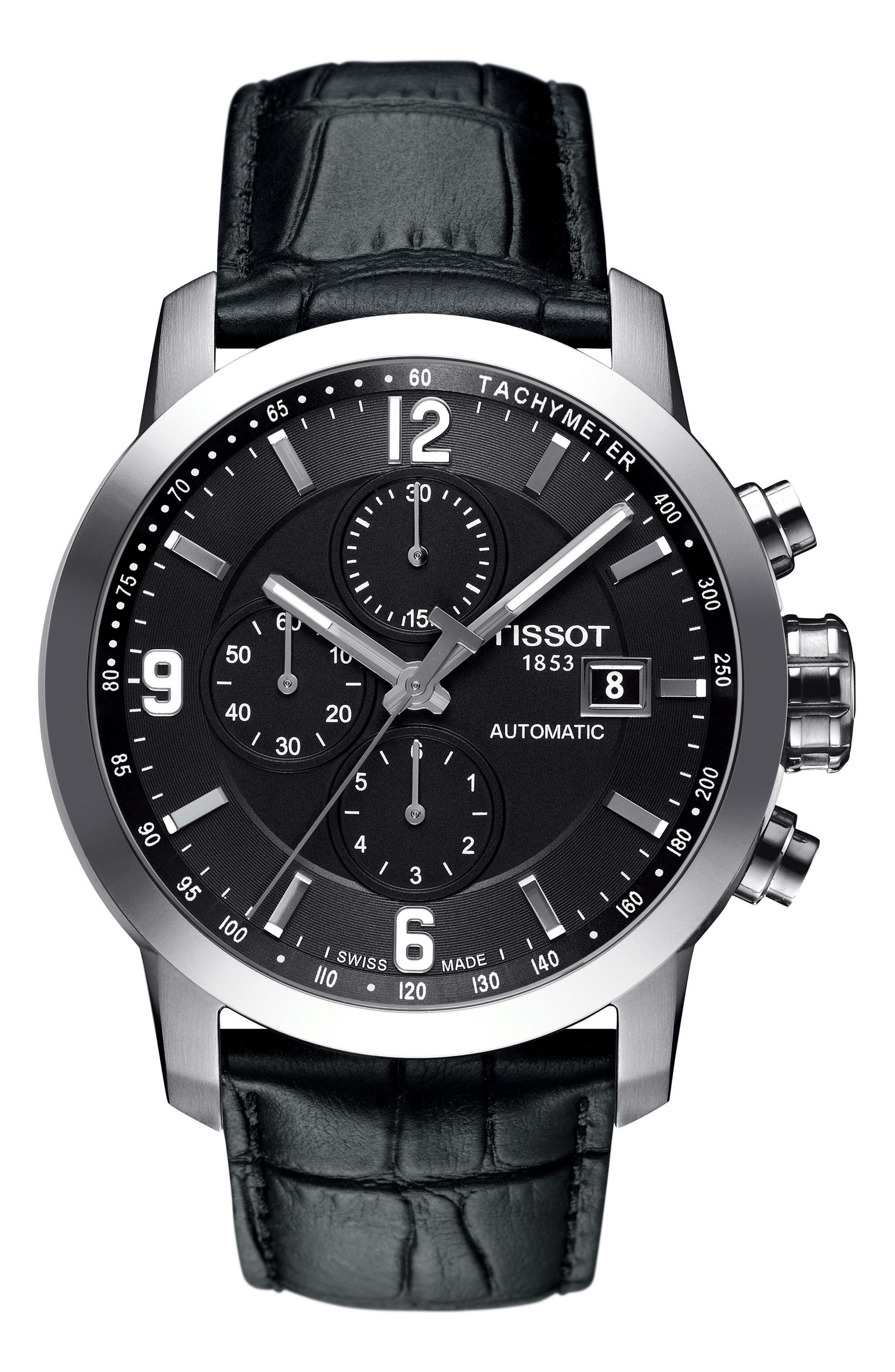 PRC200 Chronograph Leather Strap Watch, 43mm,                             Main thumbnail 1, color,                             Black/ Silver