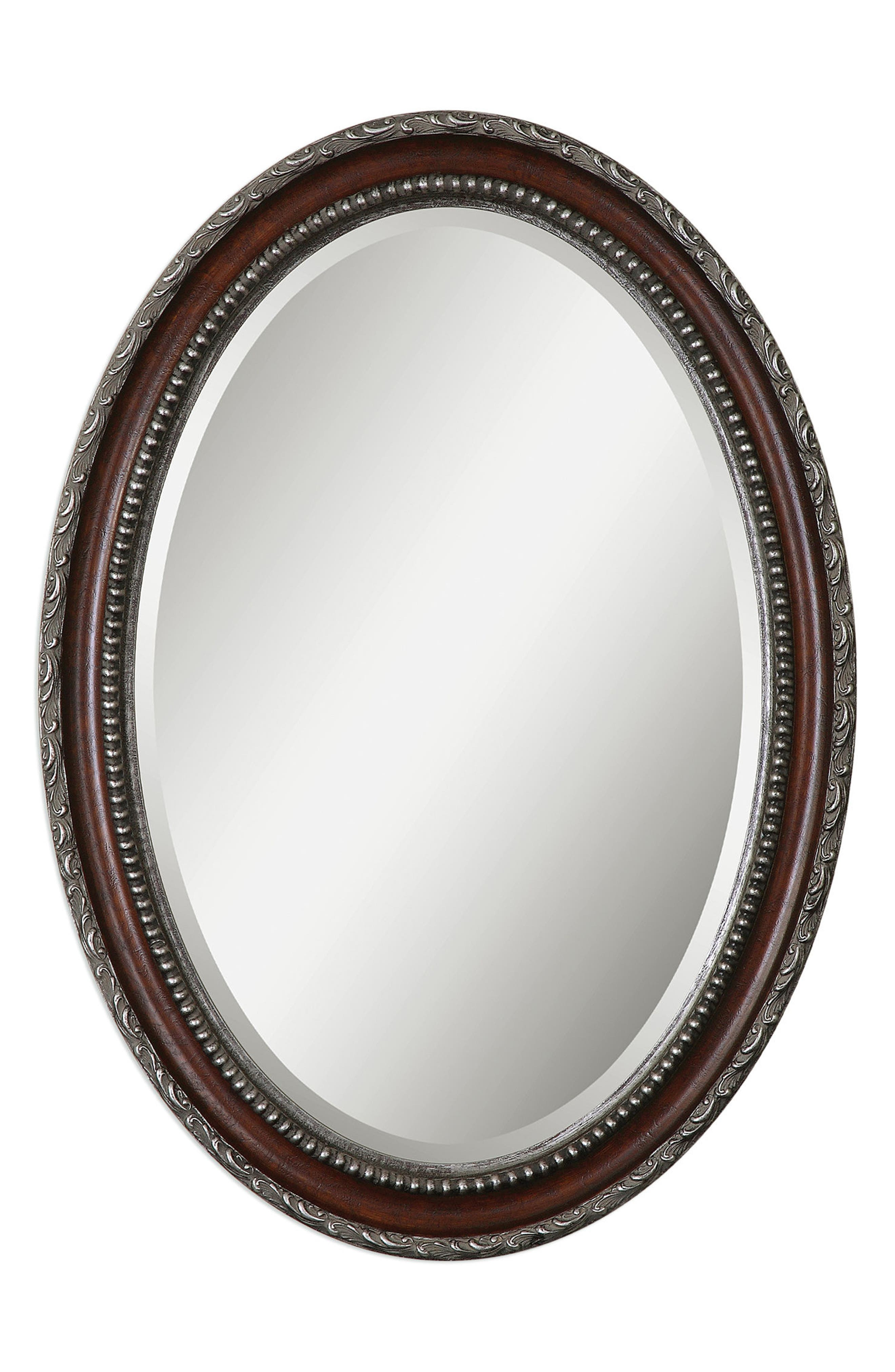 Montrose Oval Wall Mirror,                             Main thumbnail 1, color,                             Brown