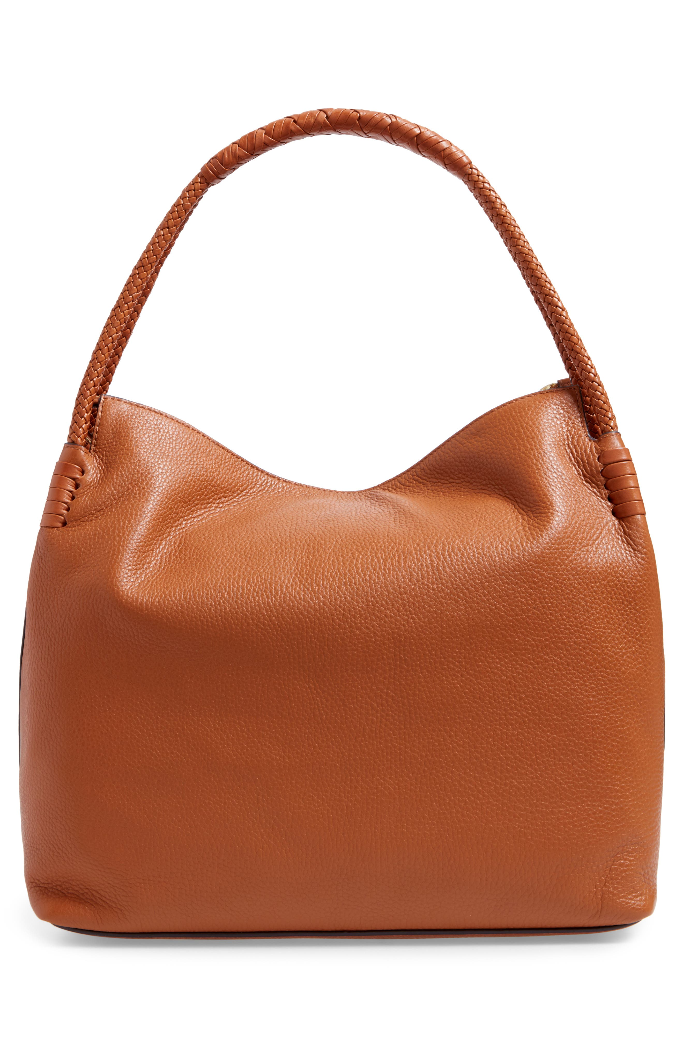 Taylor Leather Hobo Bag,                             Alternate thumbnail 3, color,                             Saddle