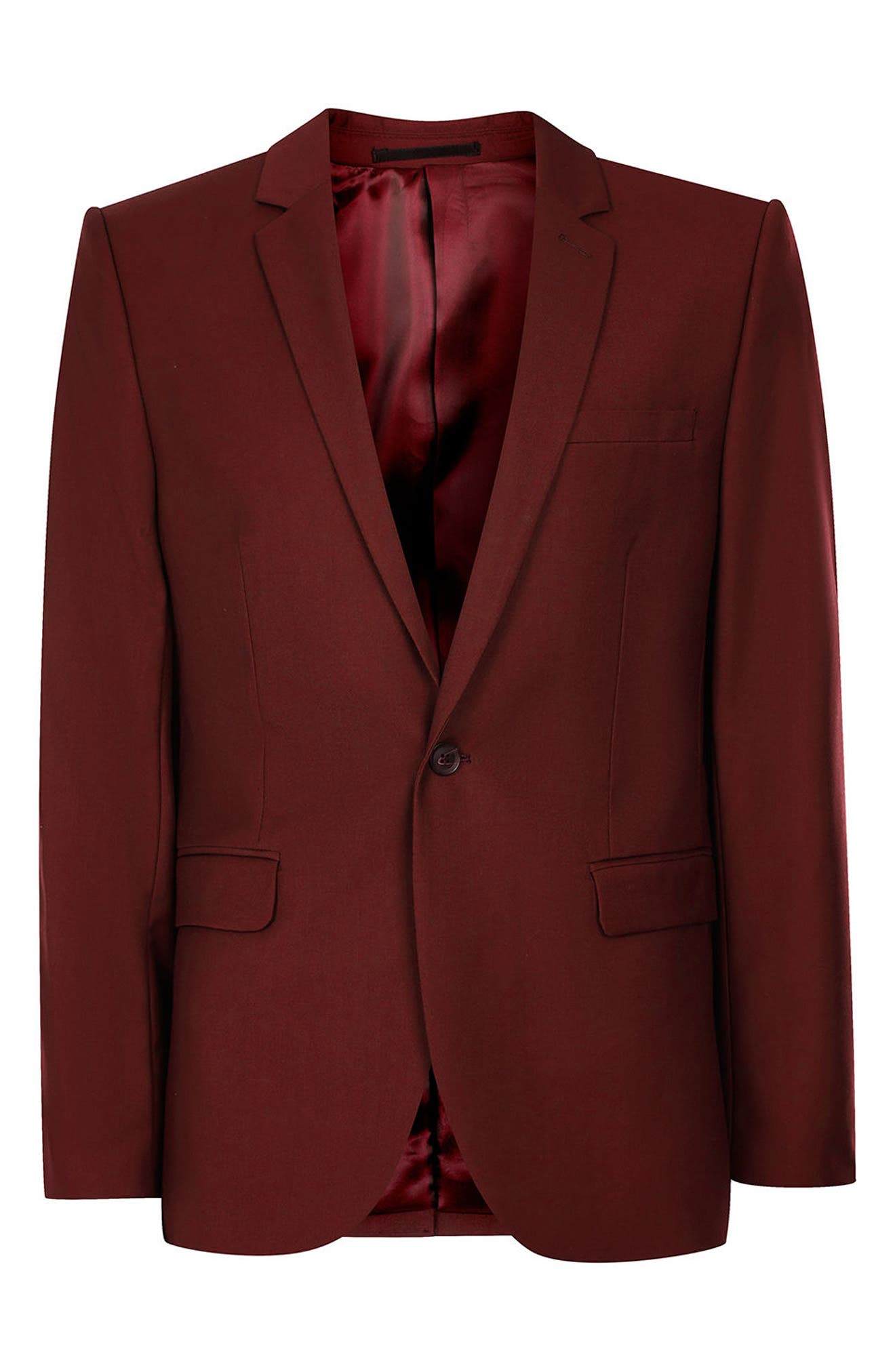 Skinny Fit Suit Jacket,                             Alternate thumbnail 6, color,                             Burgundy