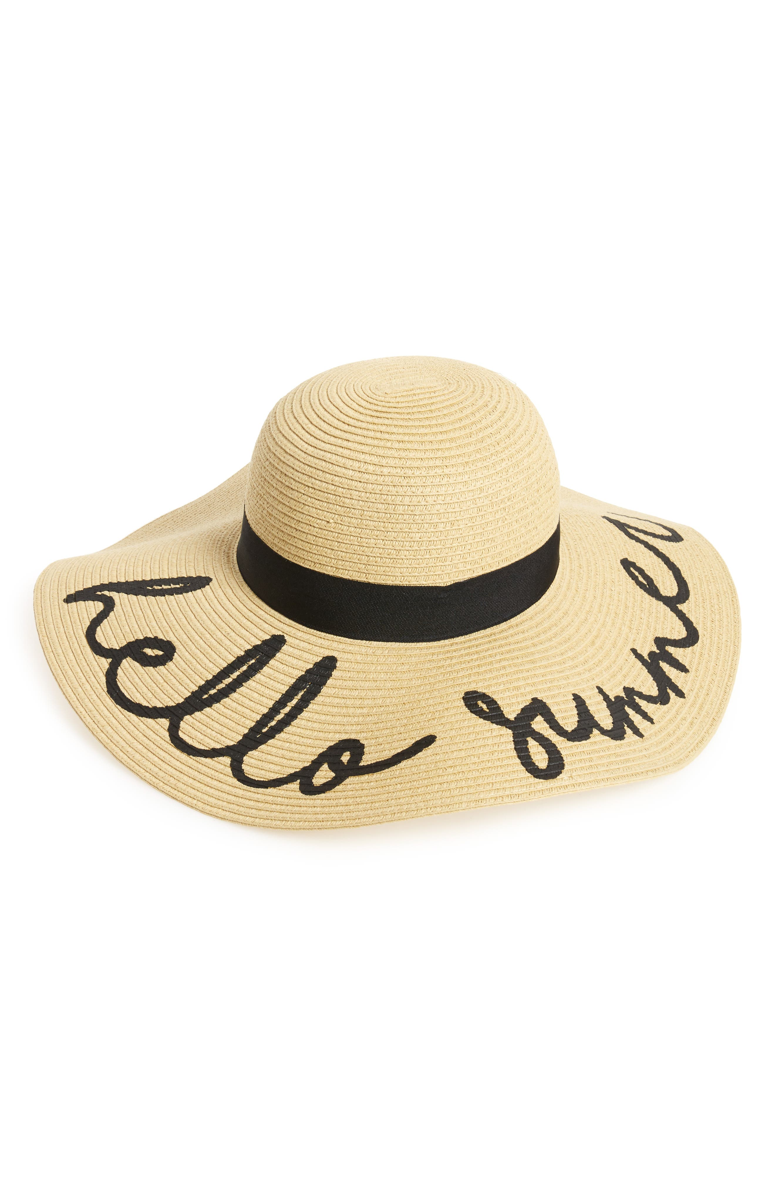 Hello Summer Floppy Straw Hat,                         Main,                         color, Natural Summer