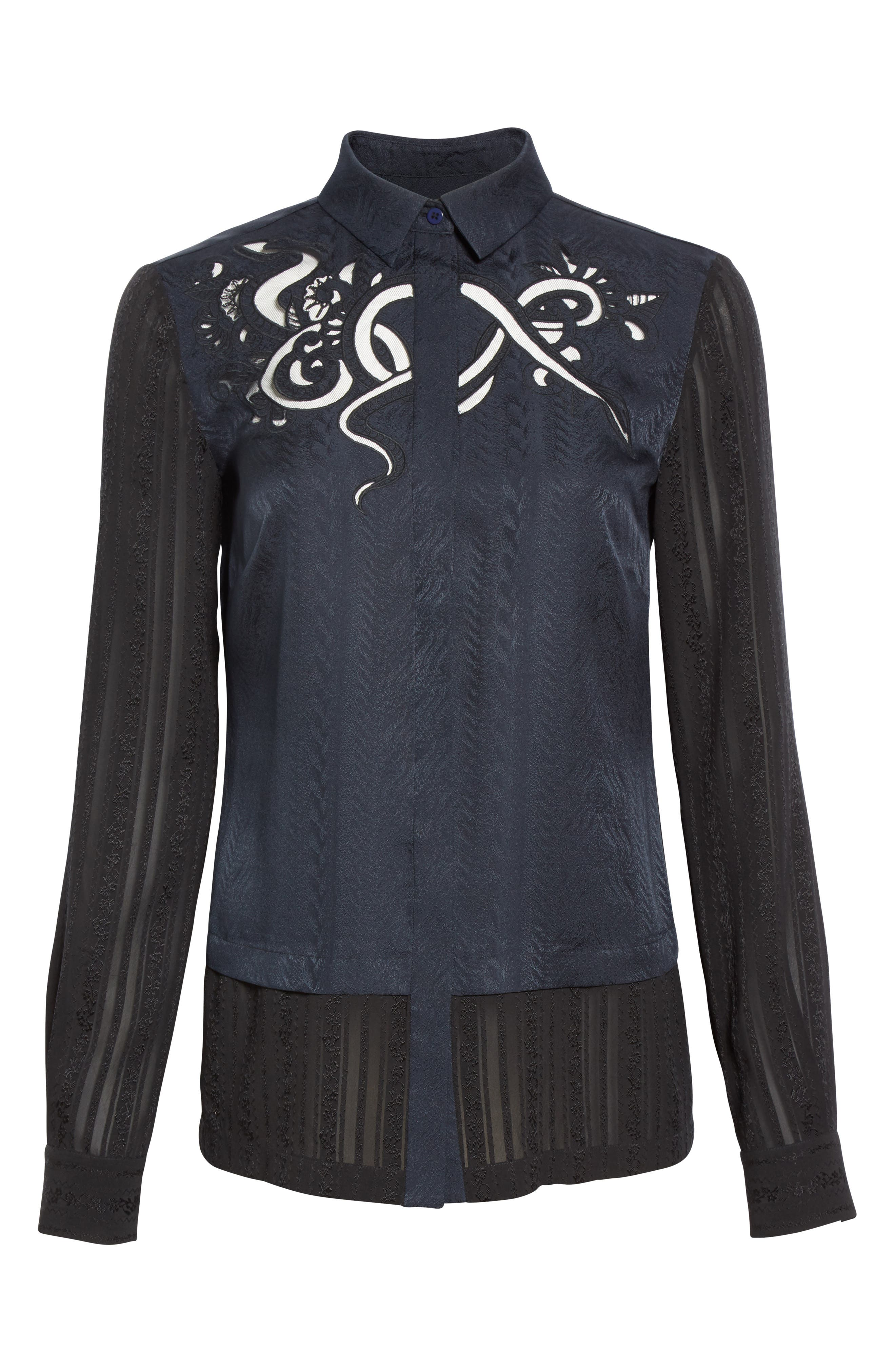 Embroidered Silk Jacquard Blouse,                             Alternate thumbnail 4, color,                             Midnight