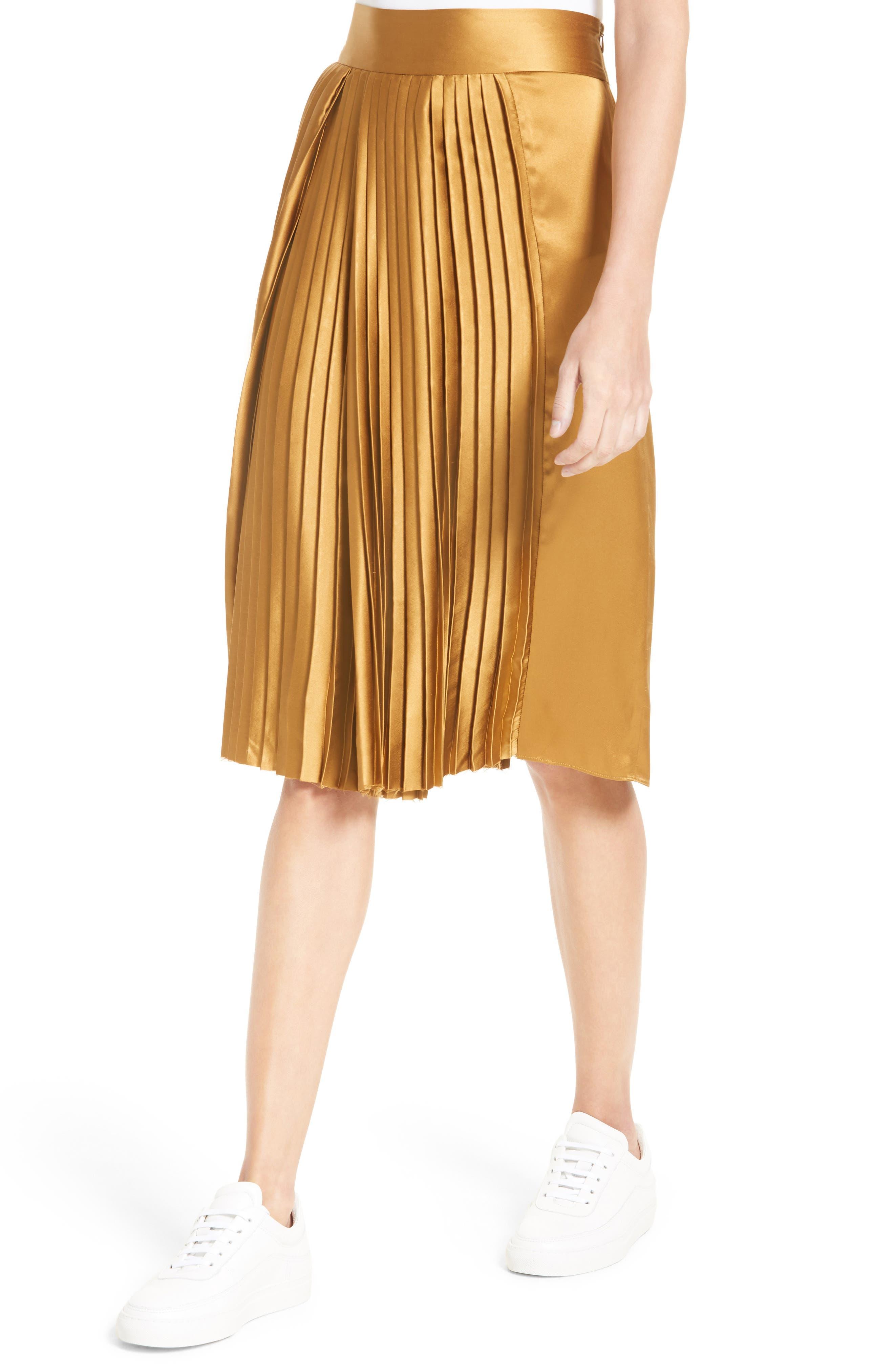 Gamil Pleated Silk Skirt,                             Alternate thumbnail 5, color,                             Bone Brown