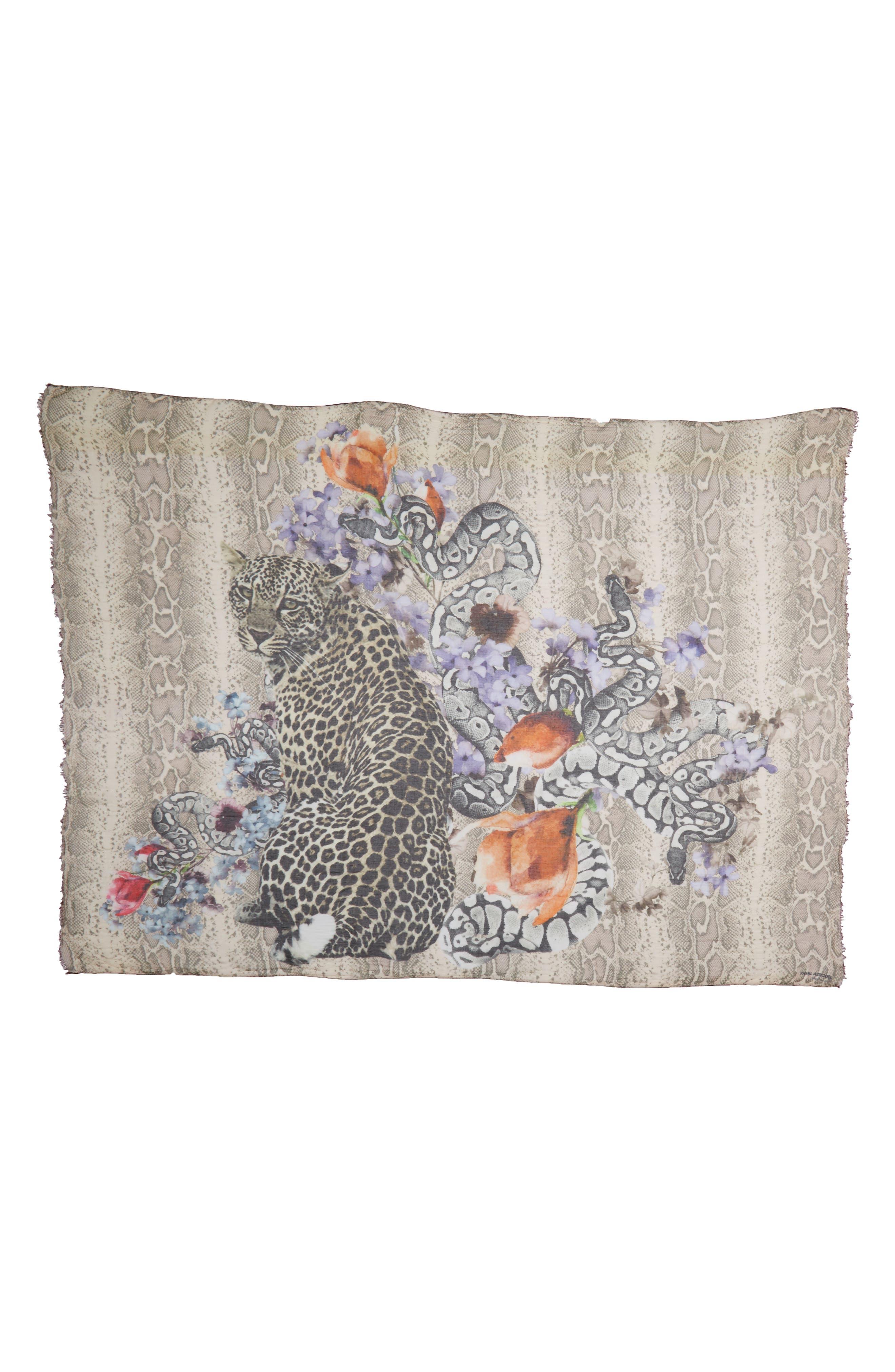 Floral Cheetah Modal & Cashmere Scarf,                         Main,                         color, Sand Multi