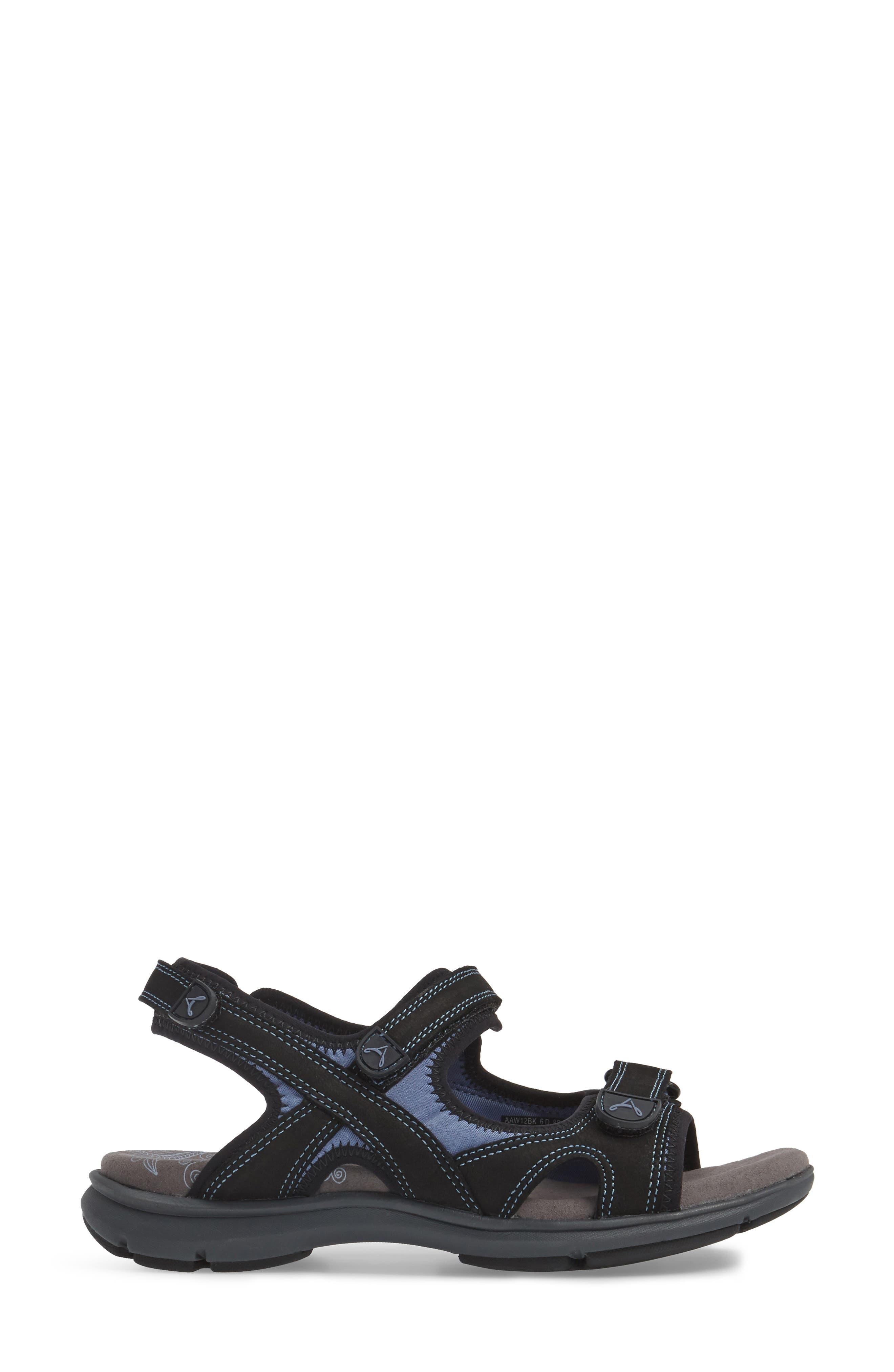 Rev Sandal,                             Alternate thumbnail 3, color,                             Black Fabric