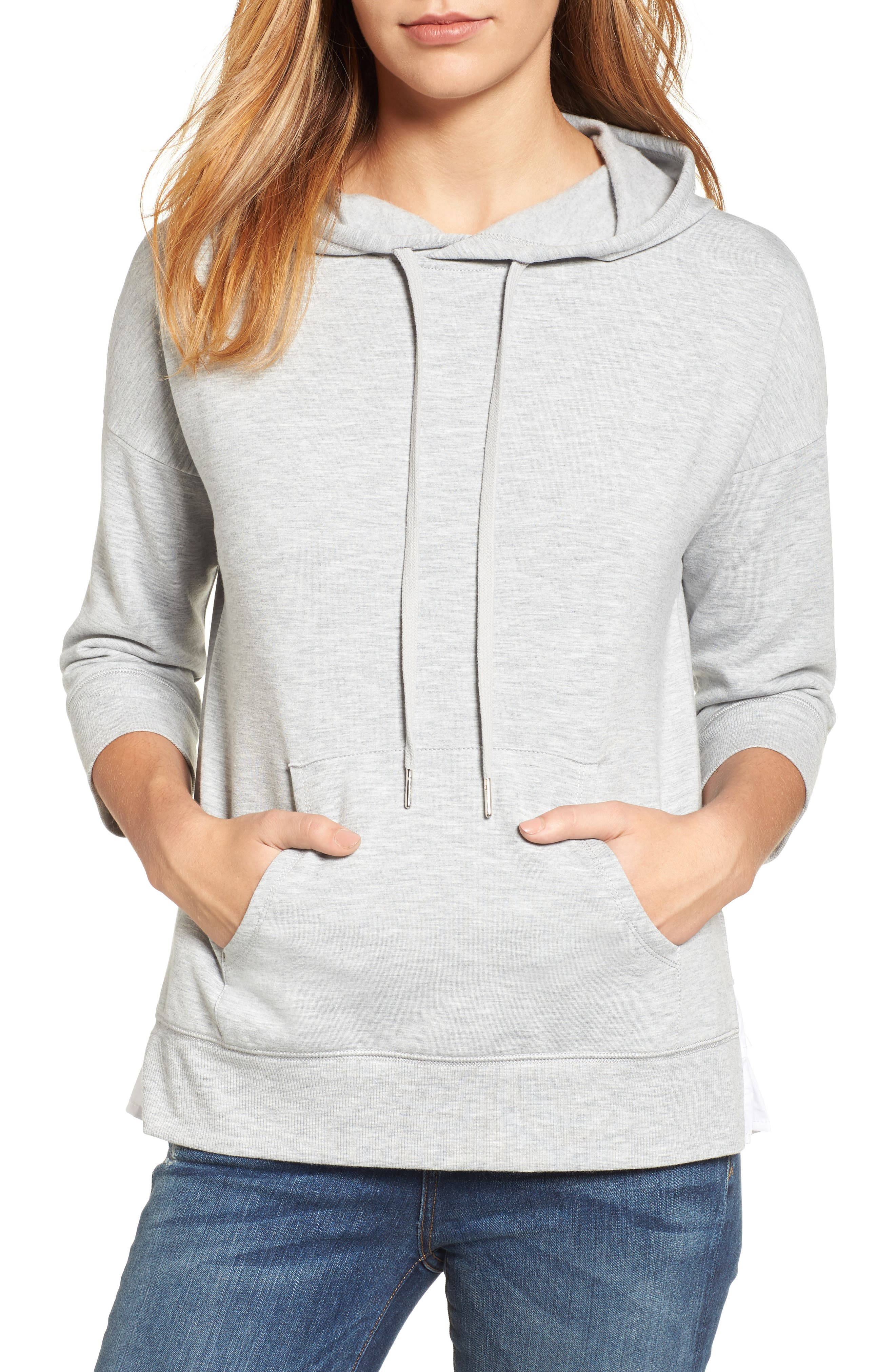 Woven Inset Knit Hoodie,                         Main,                         color, Heather Grey