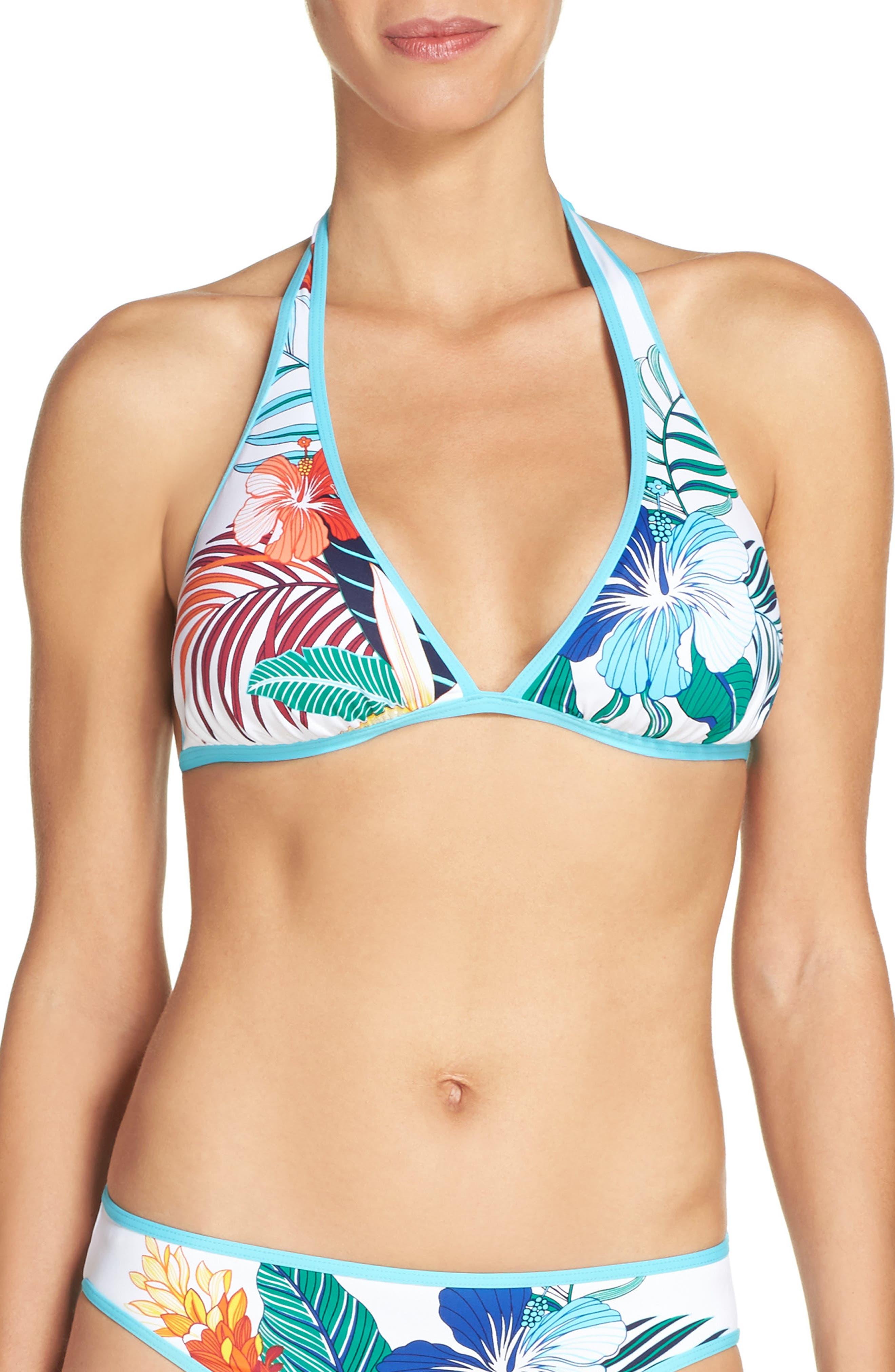 Hibiscus Print Bikini Top,                         Main,                         color, White