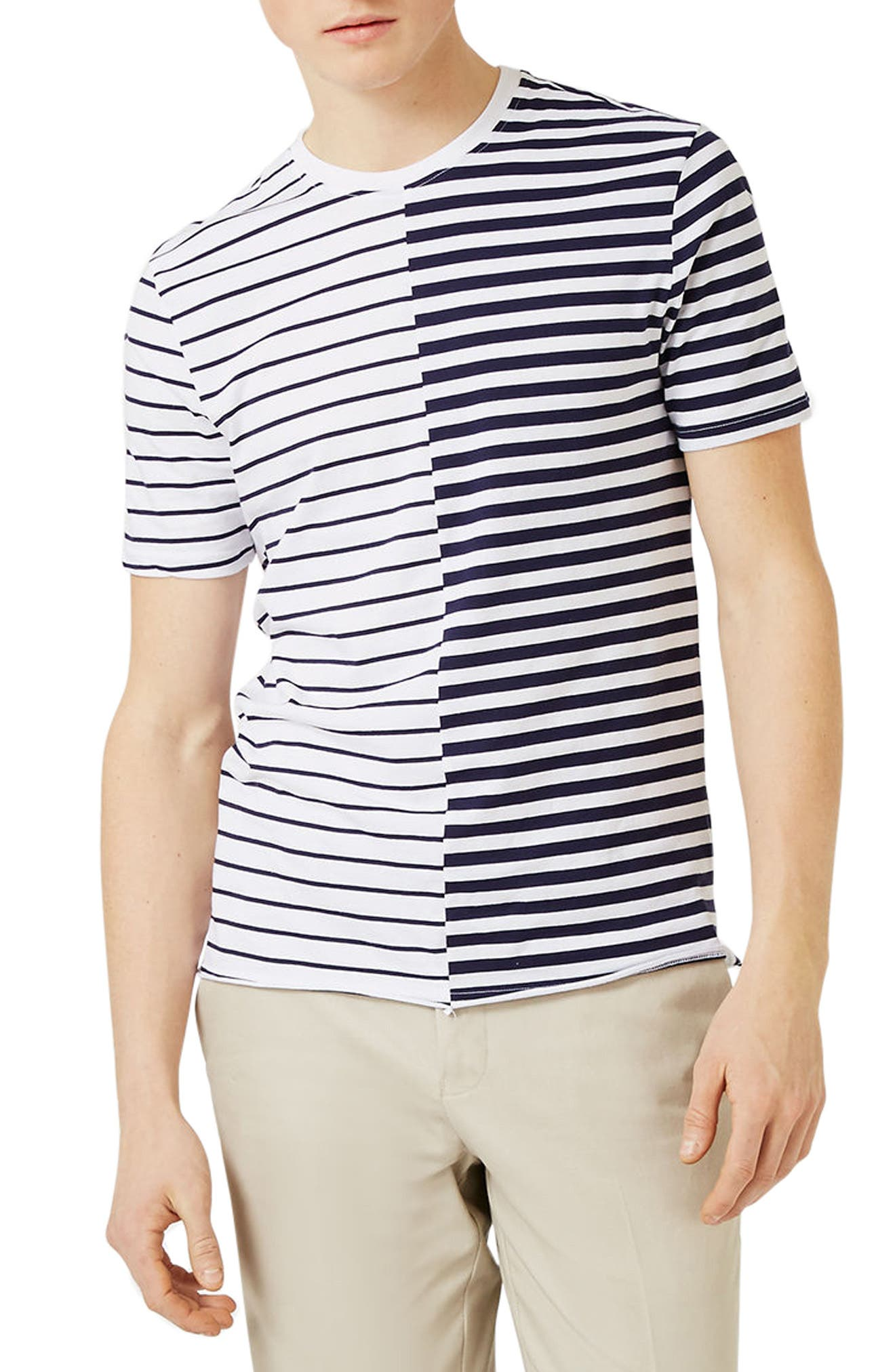 TOPMAN Spliced Stripe T-Shirt