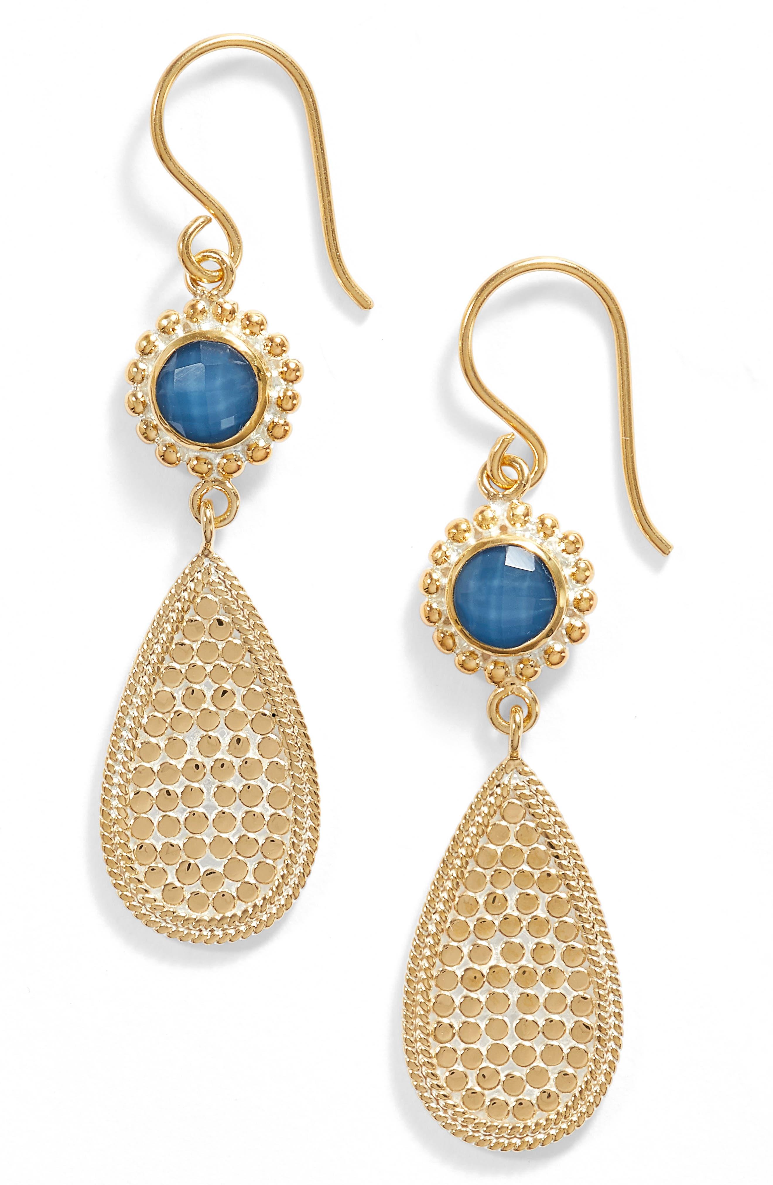 Blue Quartz Double Drop Earrings,                         Main,                         color, Gold/ Blue Quartz