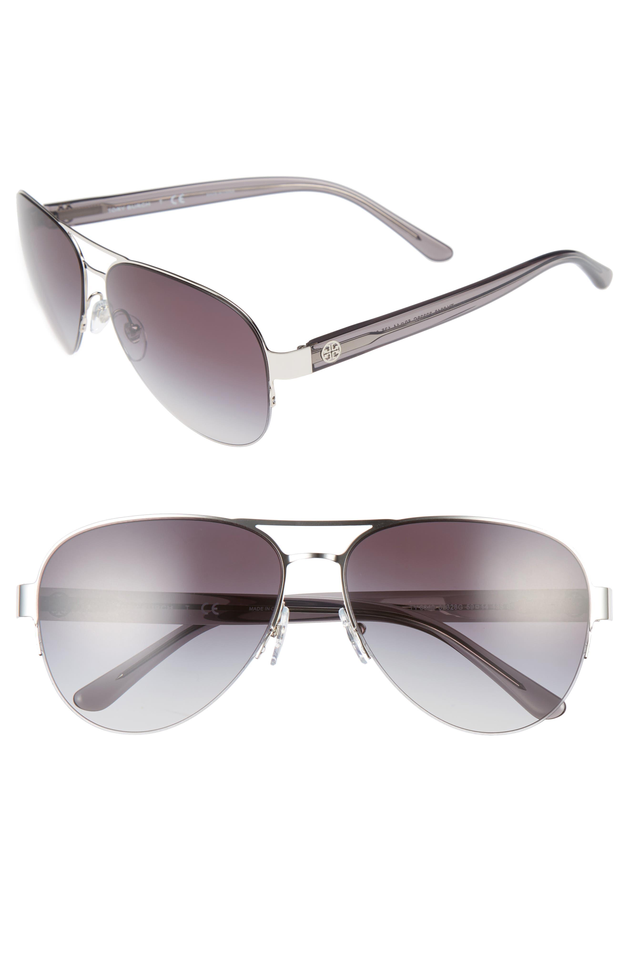 59mm Aviator Sunglasses,                         Main,                         color, Silver
