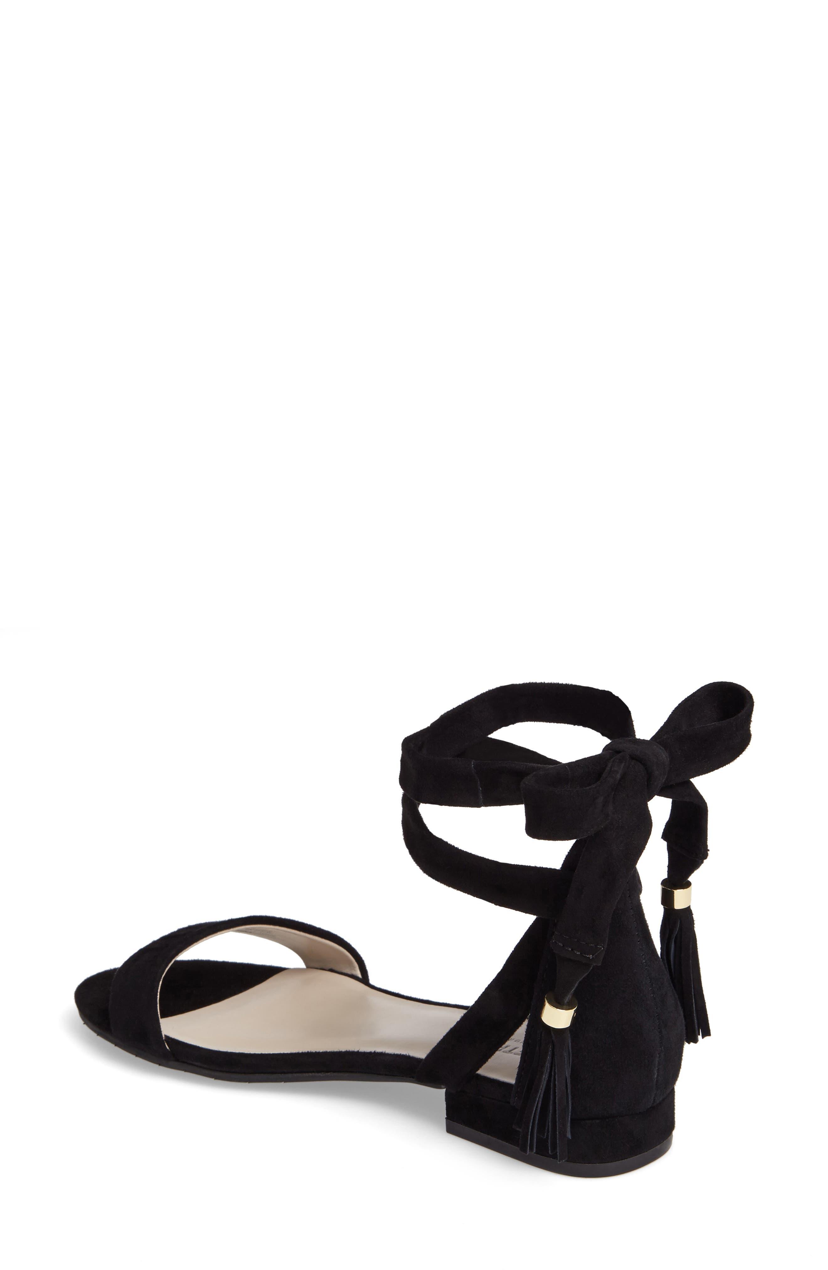 Valen Tassel Lace-Up Sandal,                             Alternate thumbnail 2, color,                             Black Suede