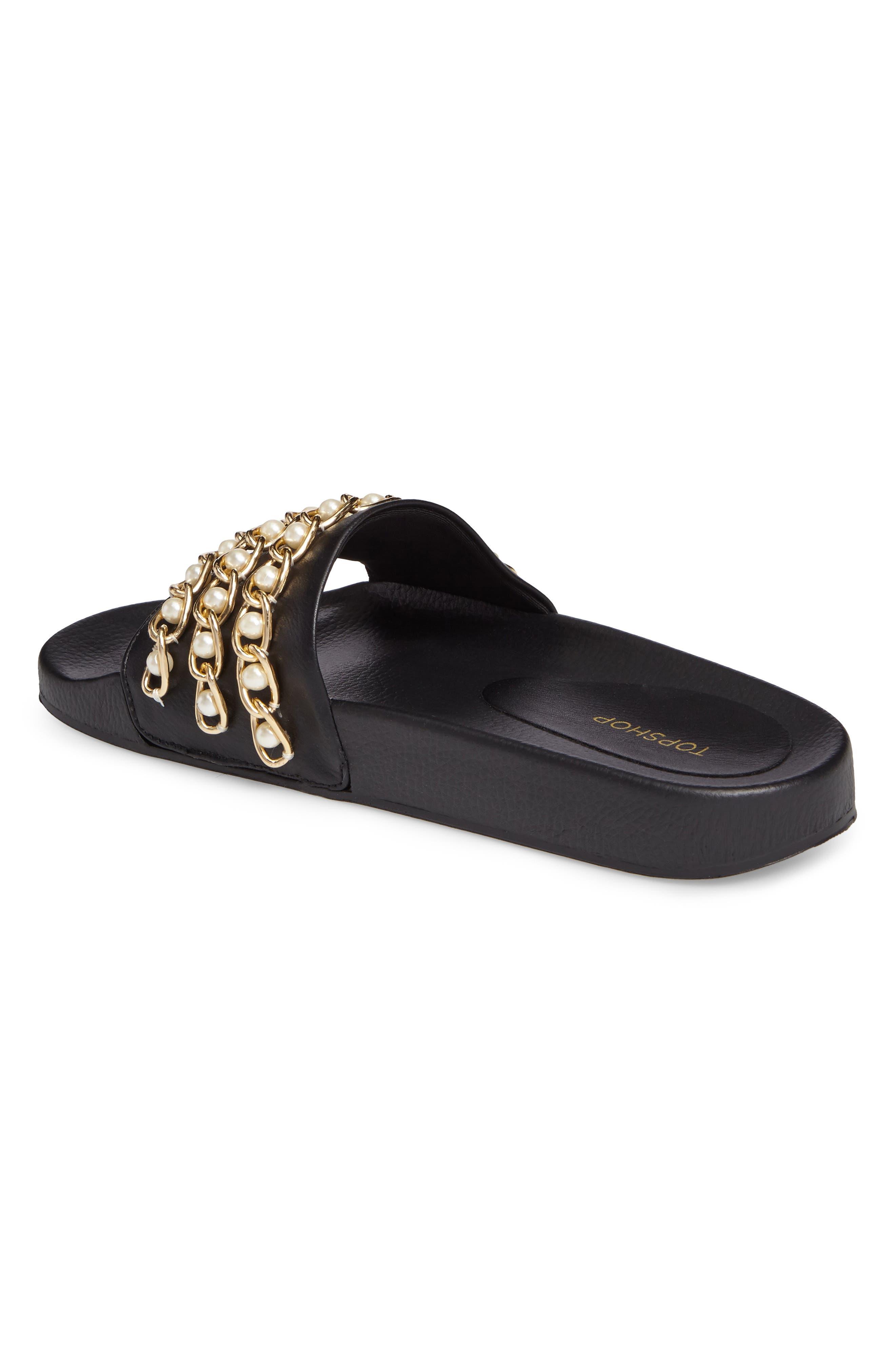 Hottie Pearl Chain Slide Sandal,                             Alternate thumbnail 2, color,                             Black Multi