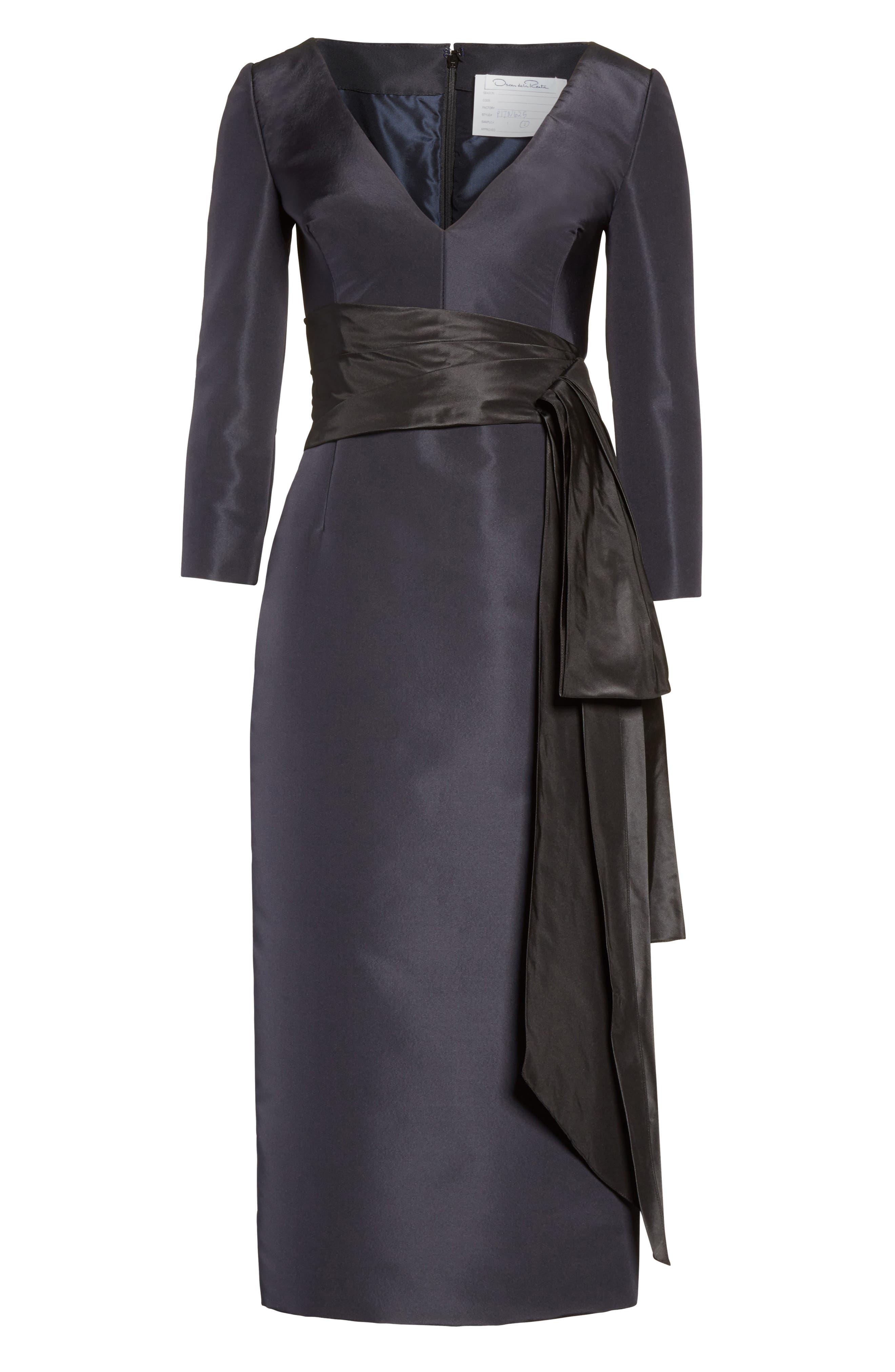 Alternate Image 4  - Oscar de la Renta Silk Moiré Cocktail Dress