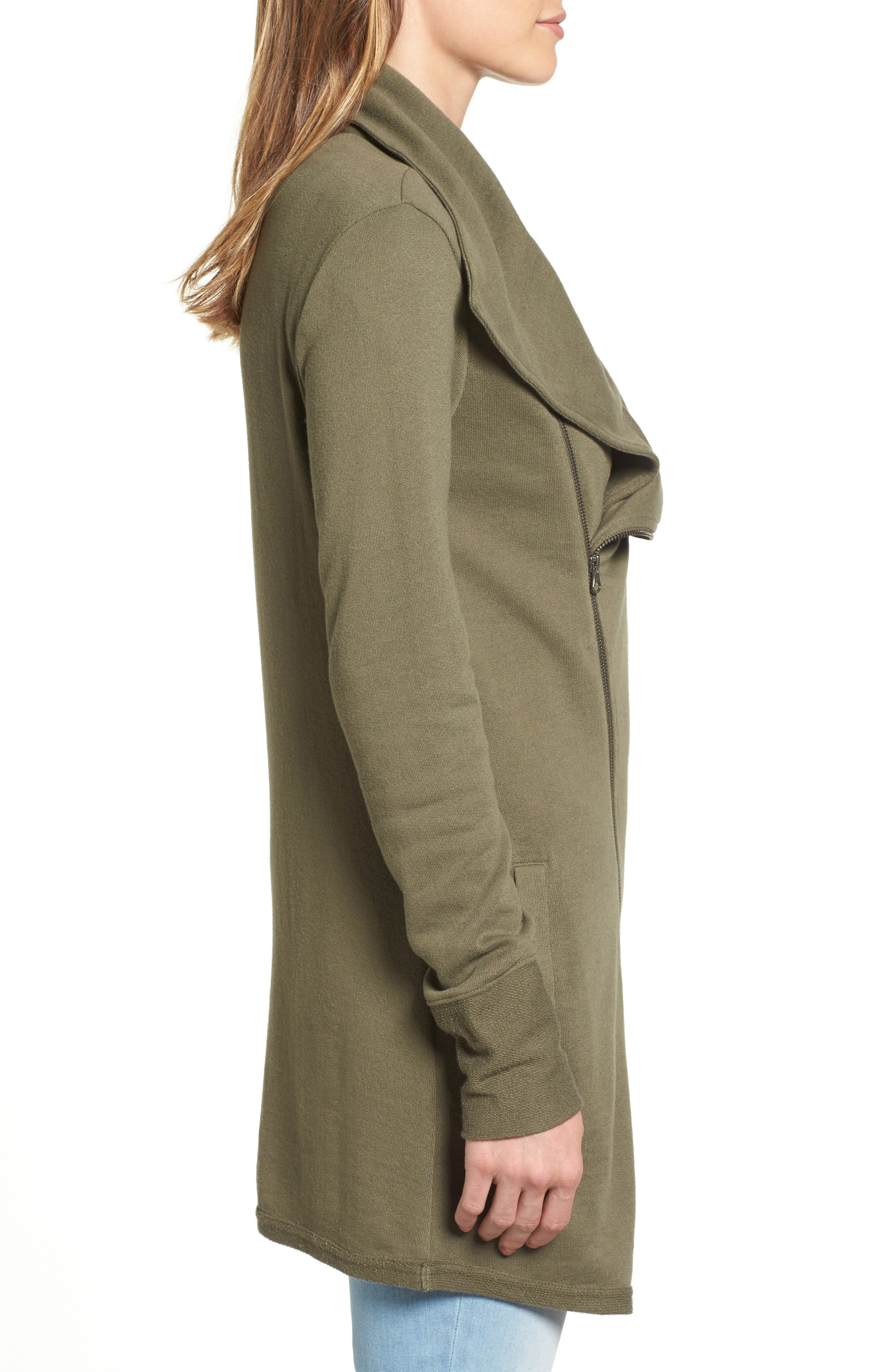 Alternate Image 3  - Caslon® Asymmetrical Drape Collar Terry Jacket (Regular & Petite)
