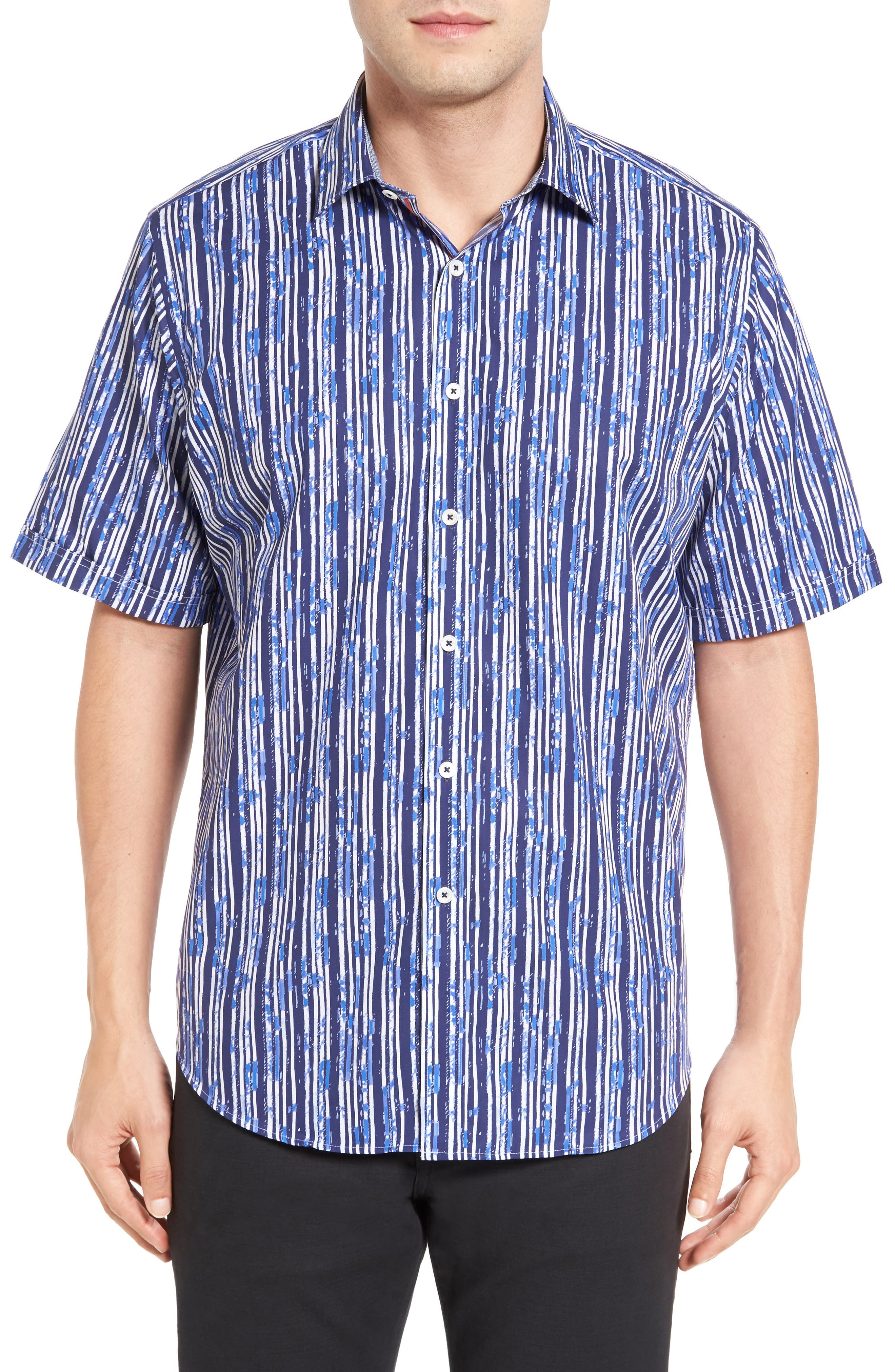 Main Image - Bugatchi Classic Fit Stripe Print Sport Shirt