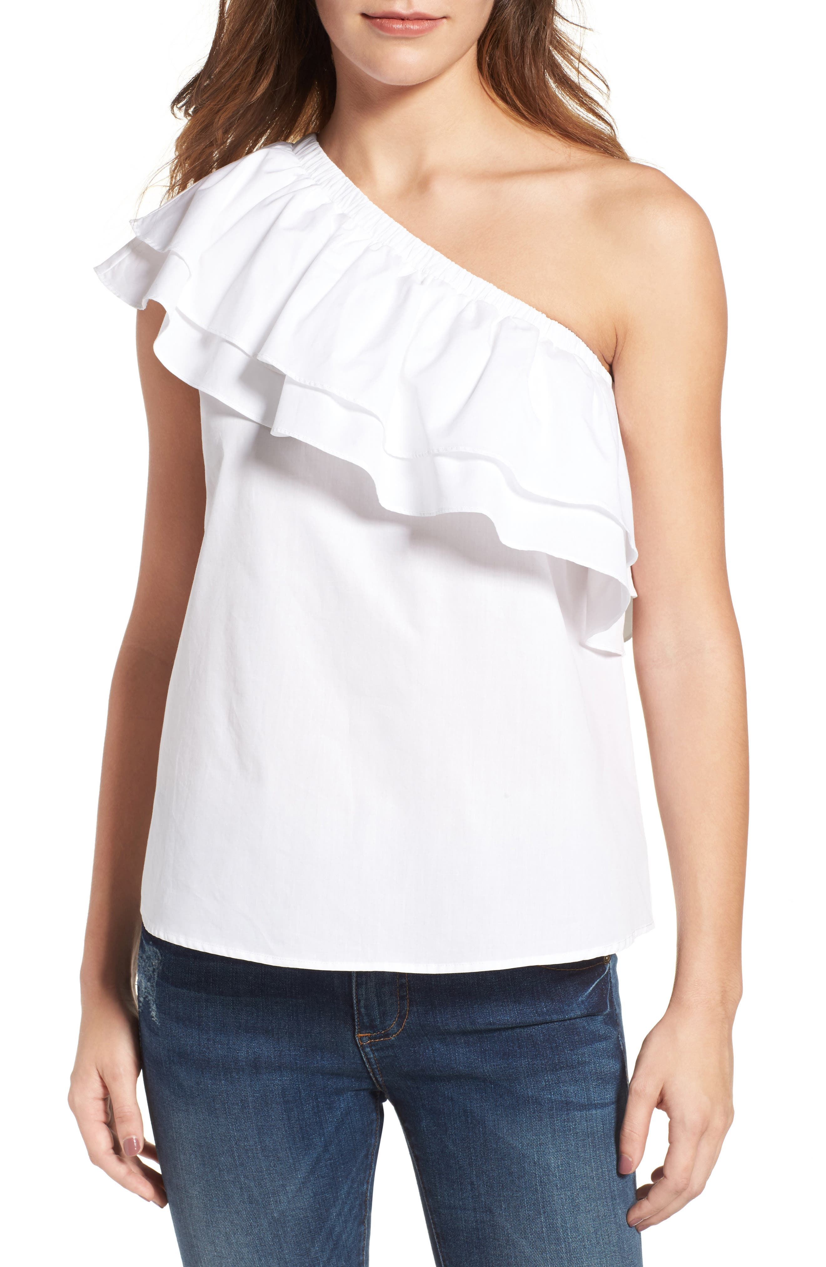Alternate Image 1 Selected - Halogen® One-Shoulder Cotton Poplin Top (Regular & Petite)