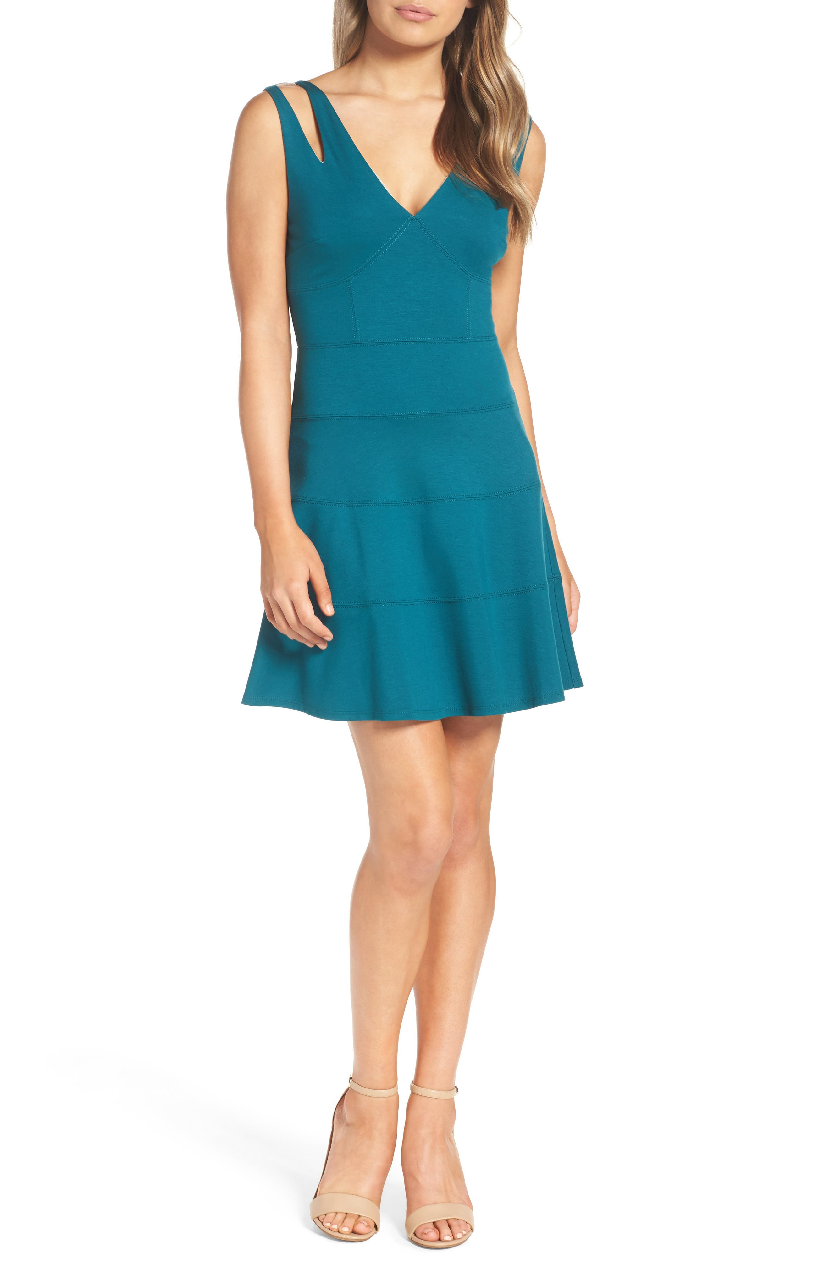 Te Quiero Fit & Flare Dress,                         Main,                         color, Agave
