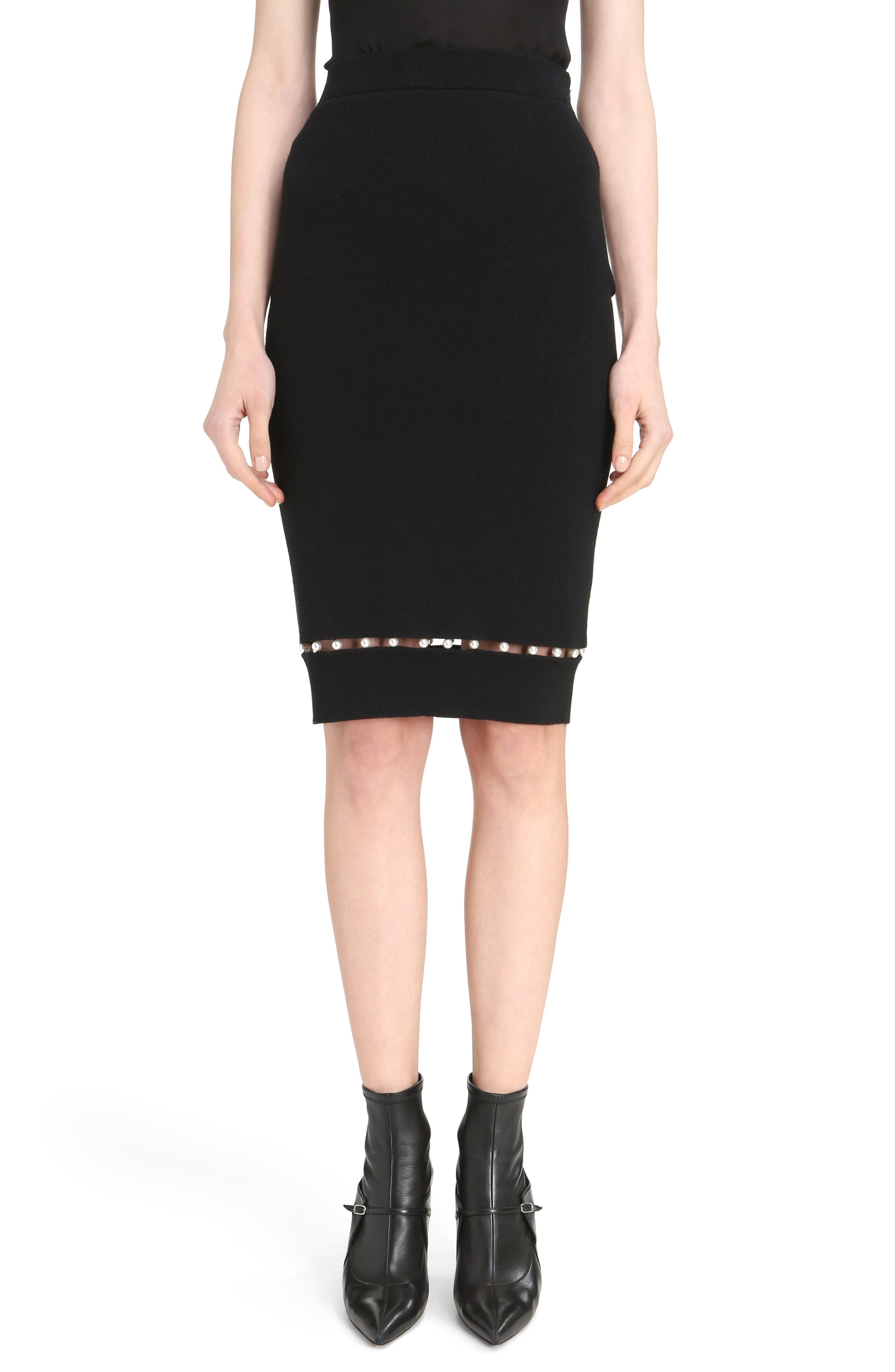 Givenchy Imitation Pearl Inset Wool Blend Skirt