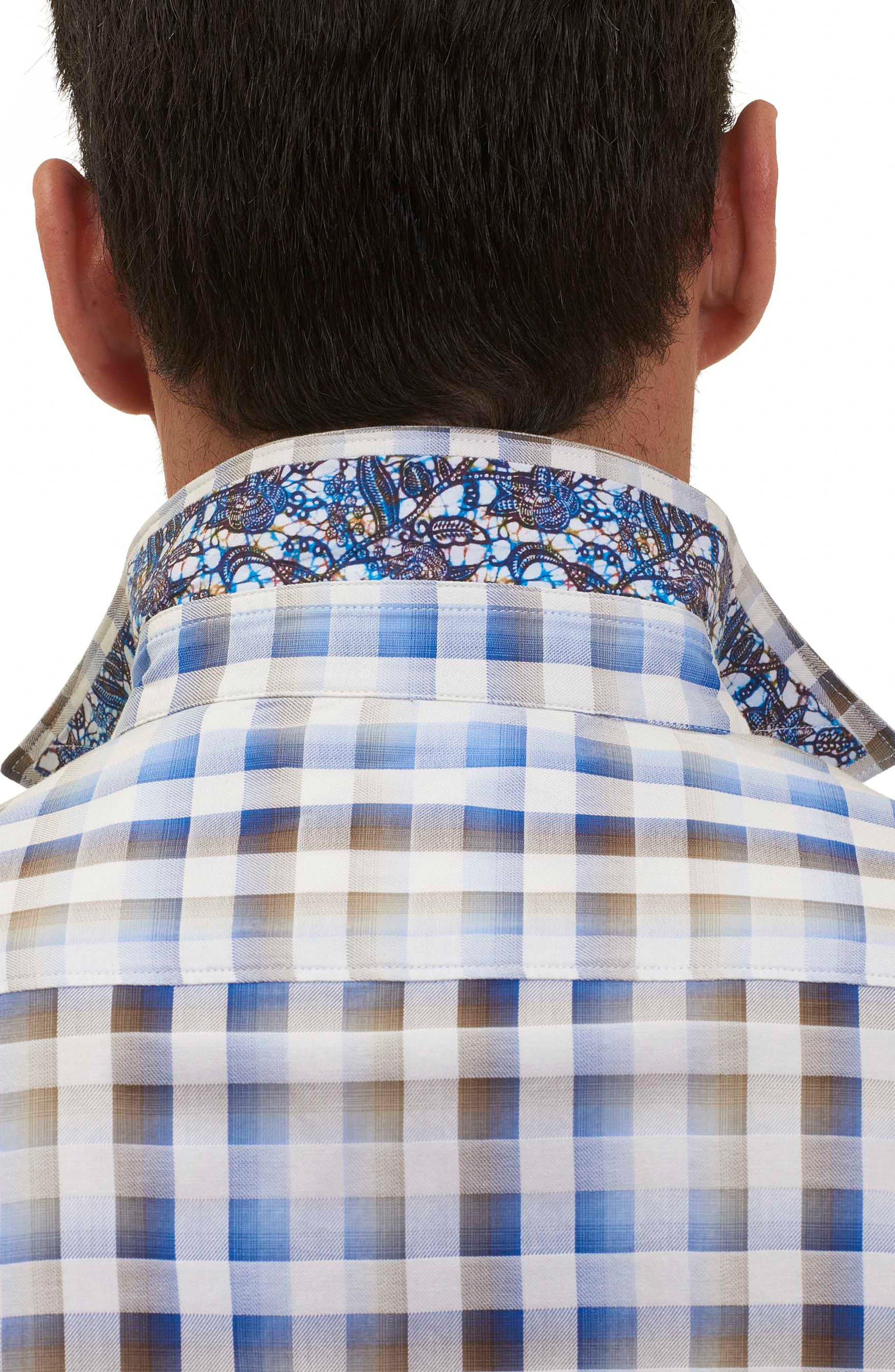 Dewan Classic Fit Check Sport Shirt,                             Alternate thumbnail 4, color,                             Blue