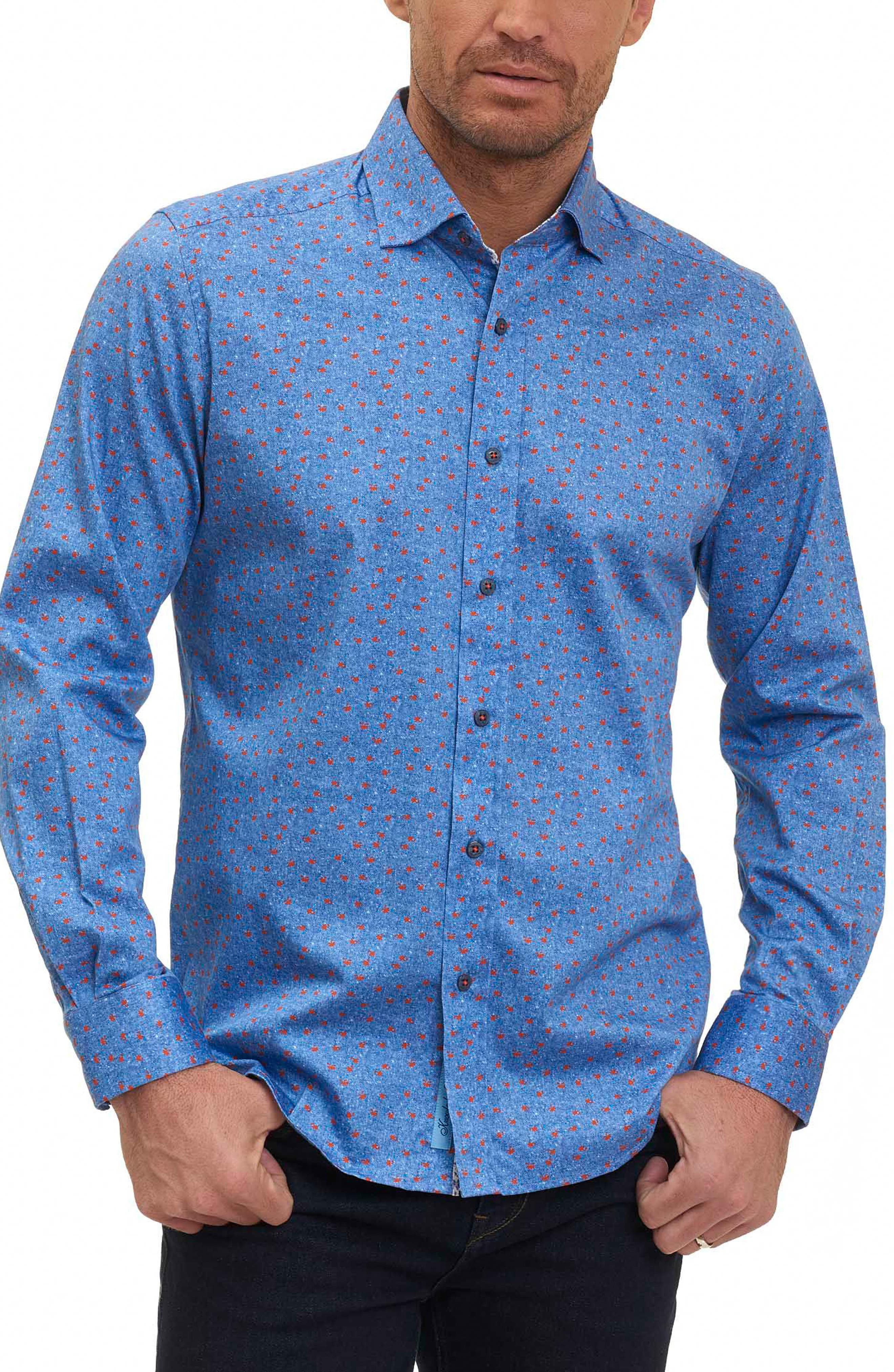 Zander Tailored Fit Sport Shirt,                         Main,                         color, Blue