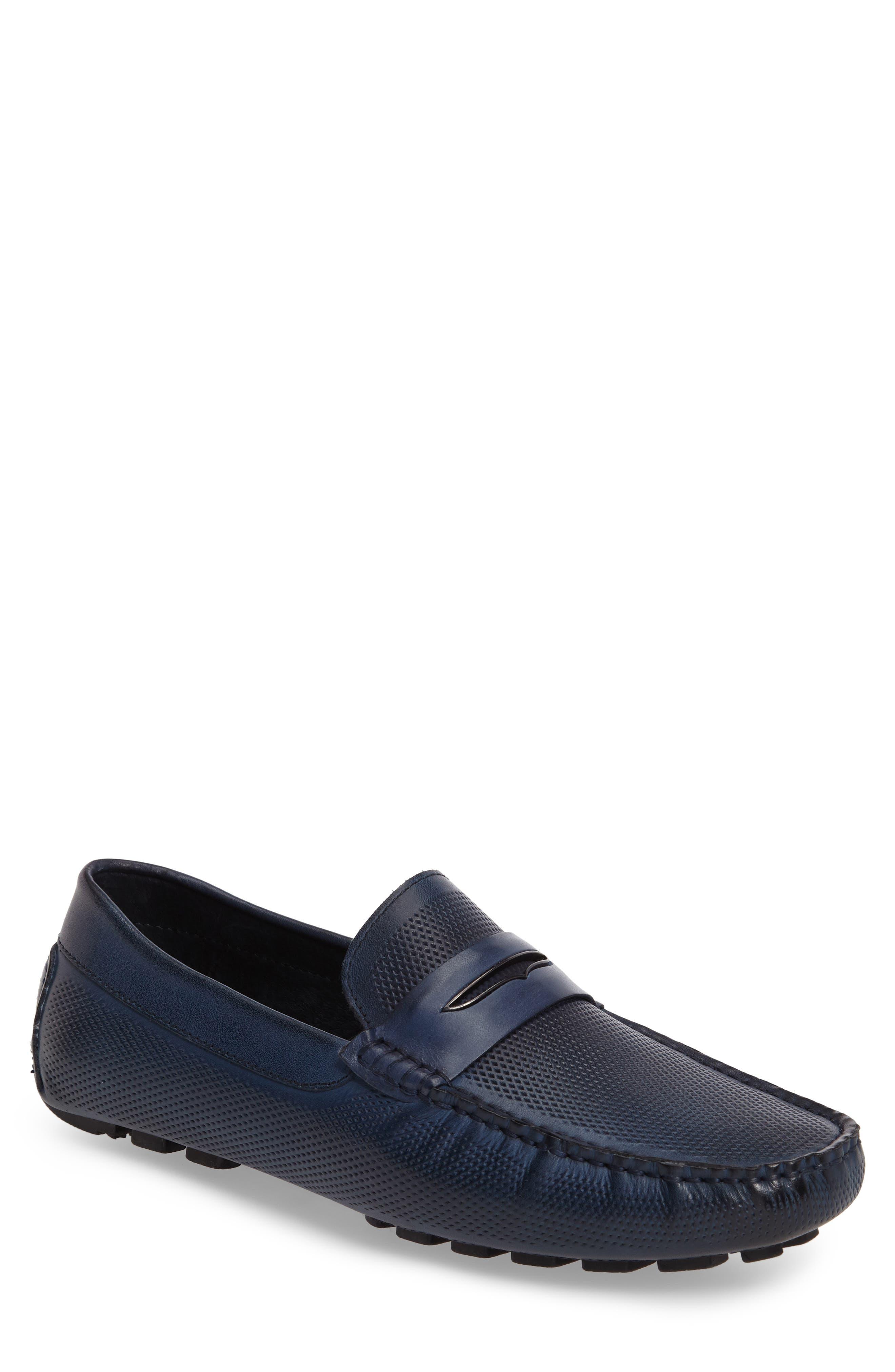 Mondrian Driving Shoe,                         Main,                         color, Blue Leather