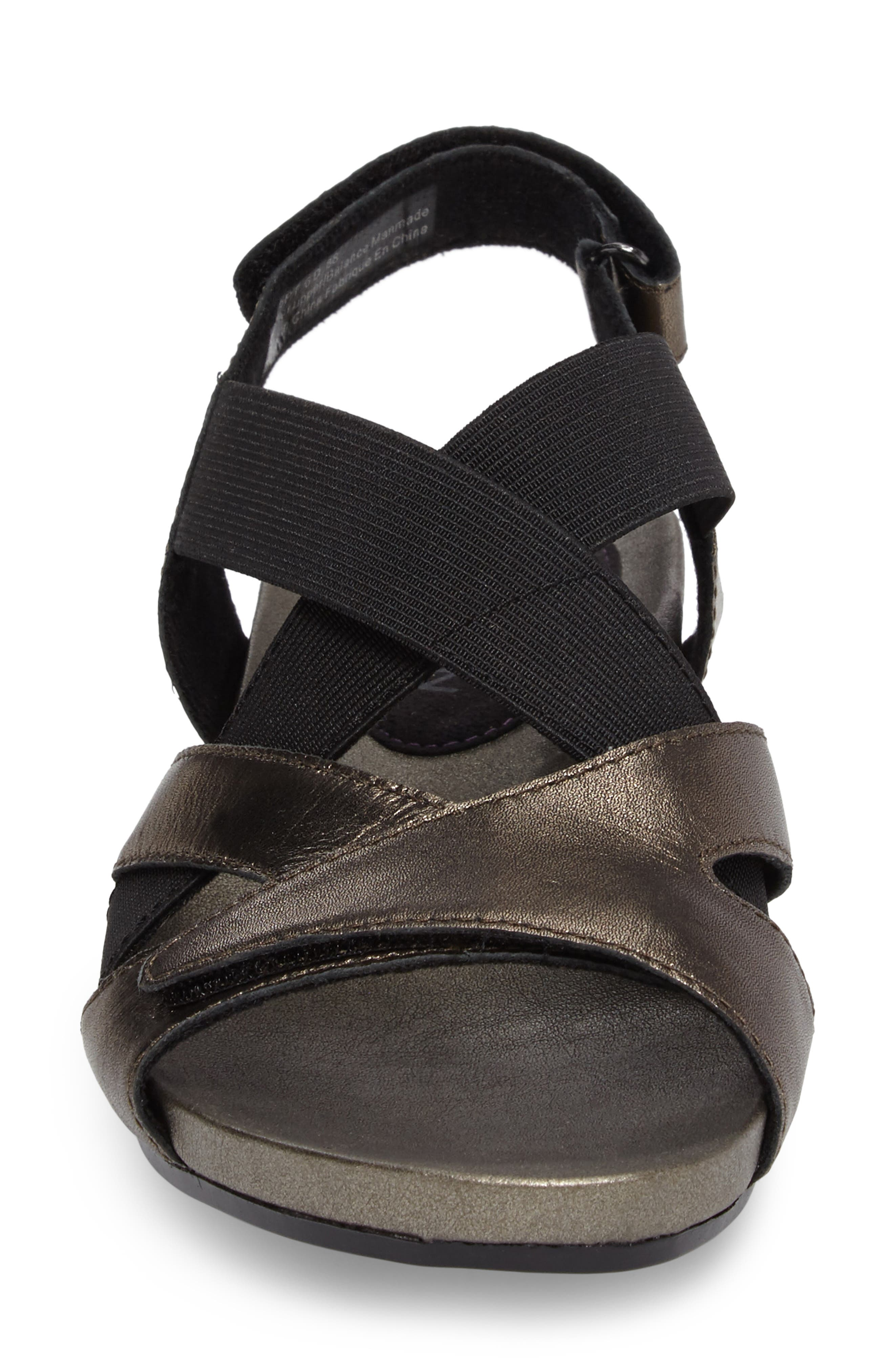 Standon Cross Strap Sandal,                             Alternate thumbnail 4, color,                             Pewter Fabric
