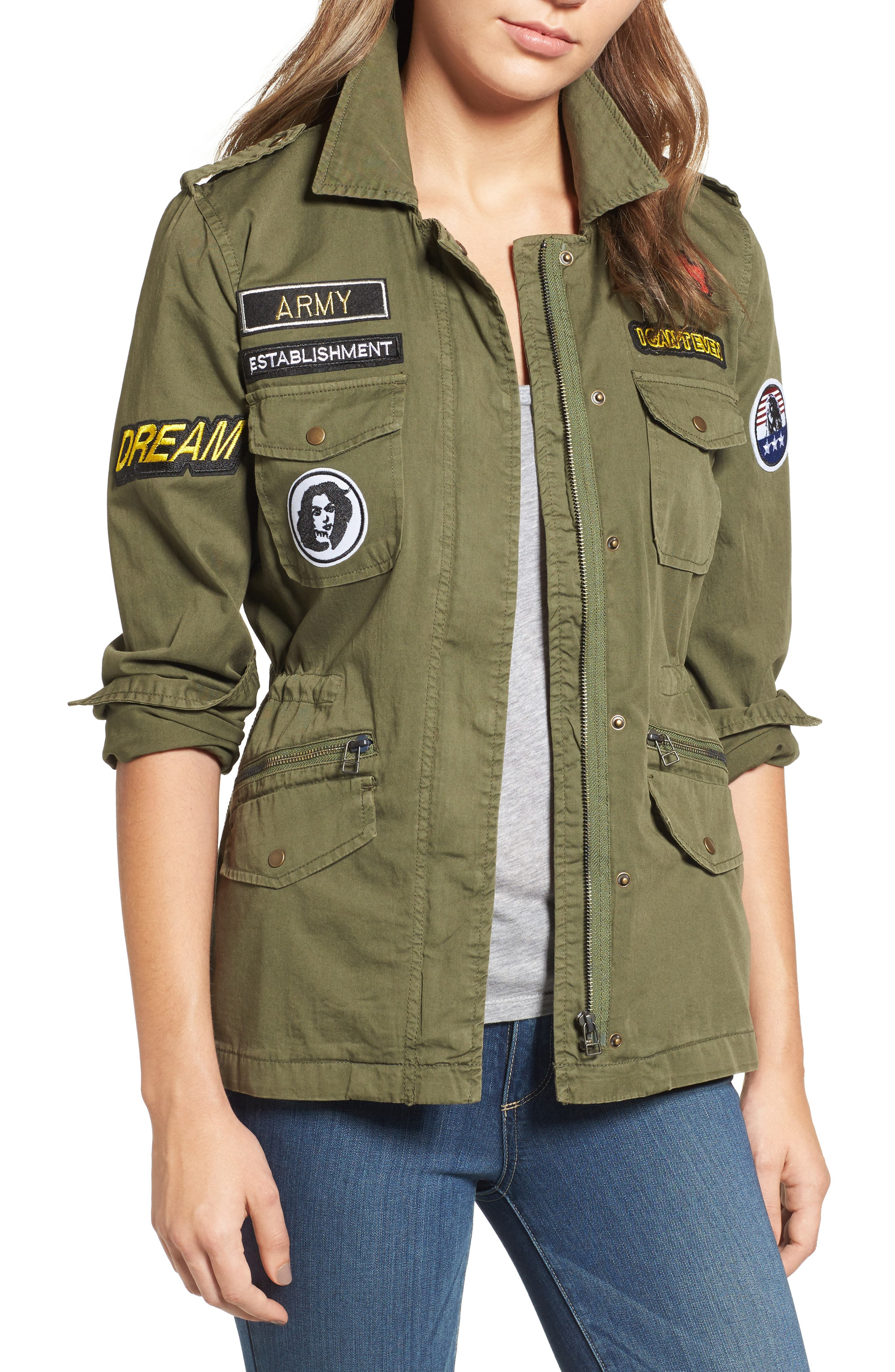Patched Army Jacket,                         Main,                         color, Forest Green