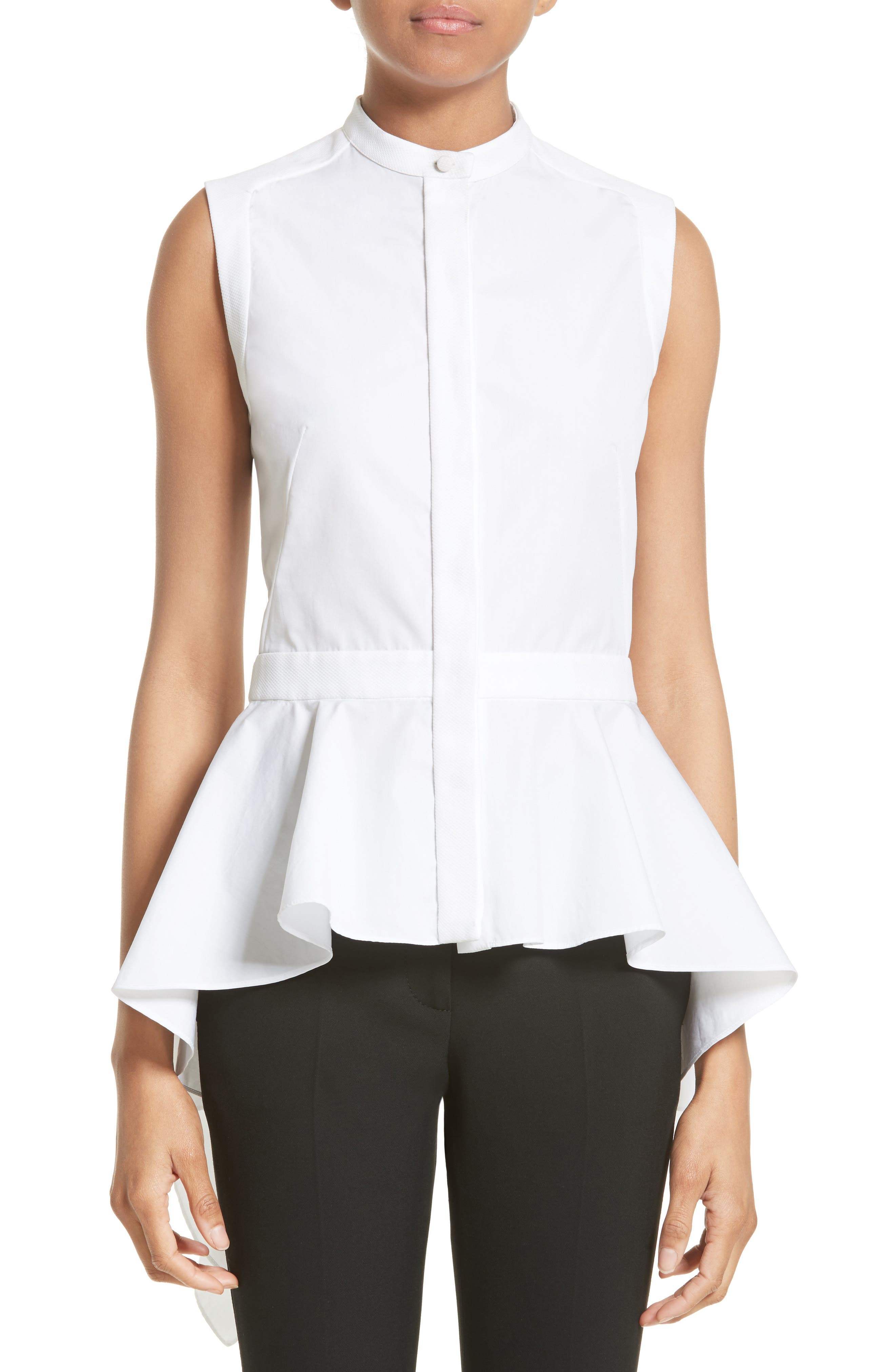 Alexander McQueen Cotton Peplum Top