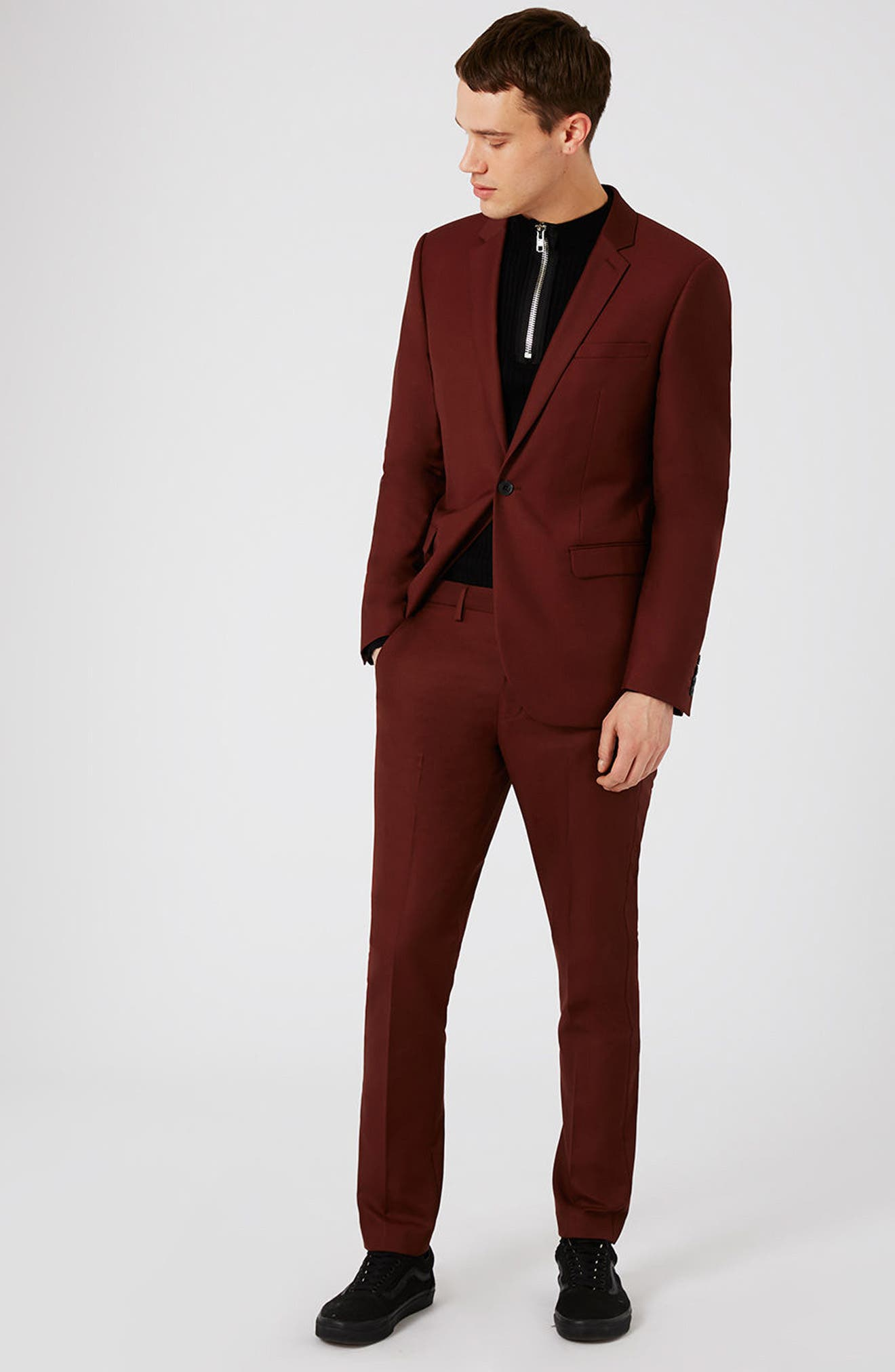Skinny Fit Suit Jacket,                             Alternate thumbnail 7, color,                             Burgundy