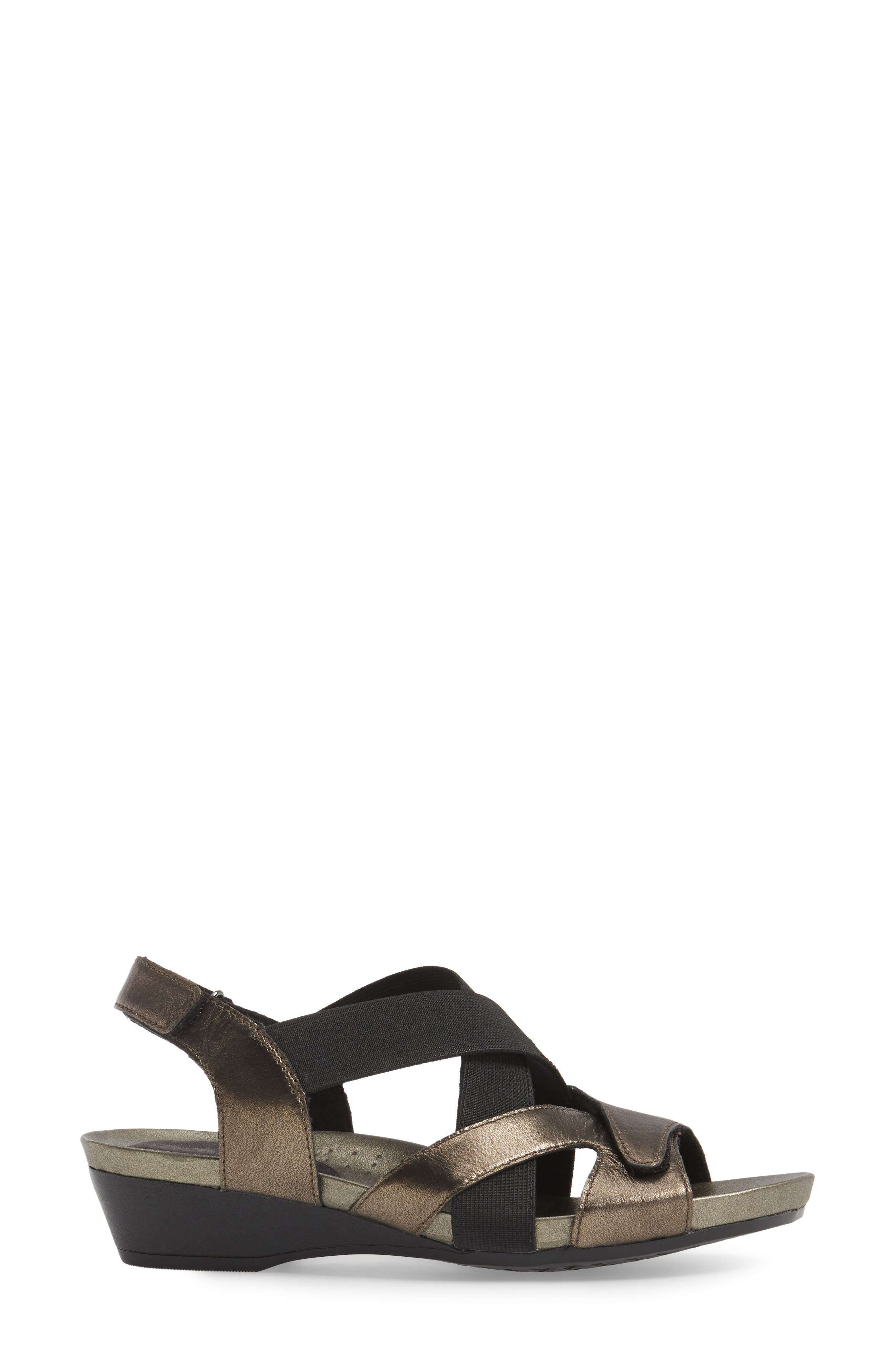 Standon Cross Strap Sandal,                             Alternate thumbnail 3, color,                             Pewter Fabric