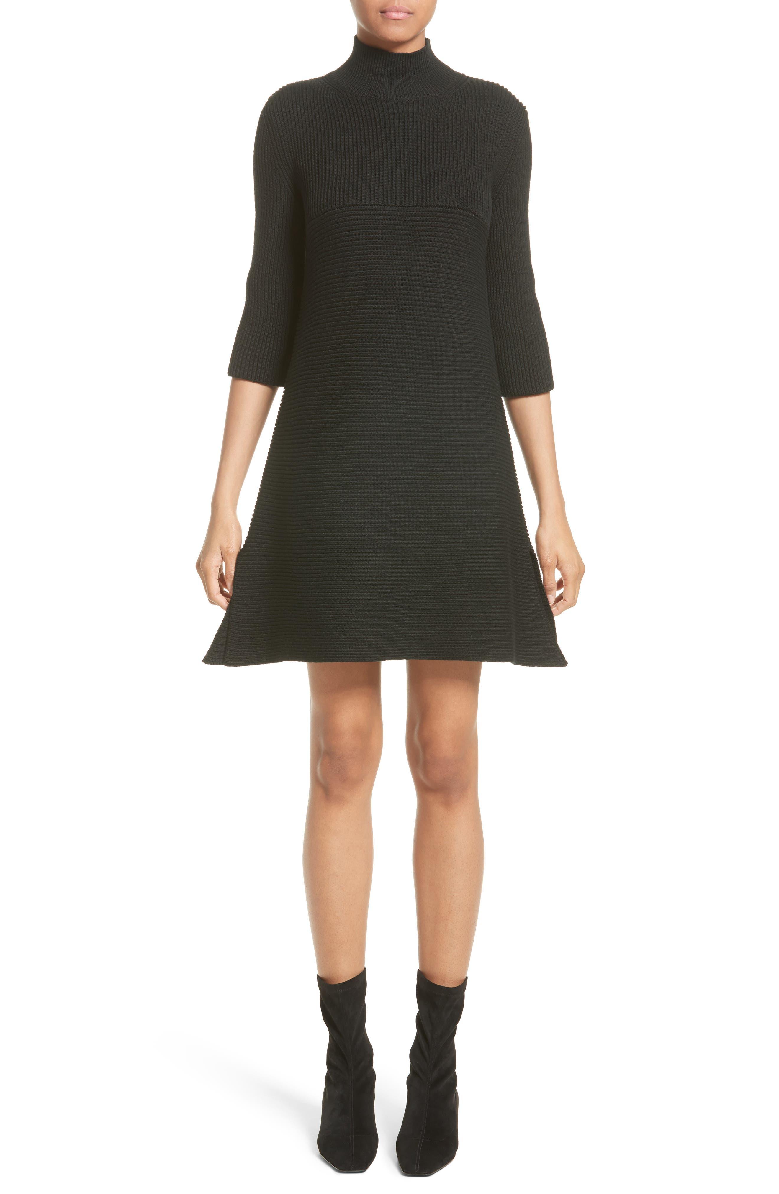 Virgin Wool Rib Knit Dress,                         Main,                         color, Black