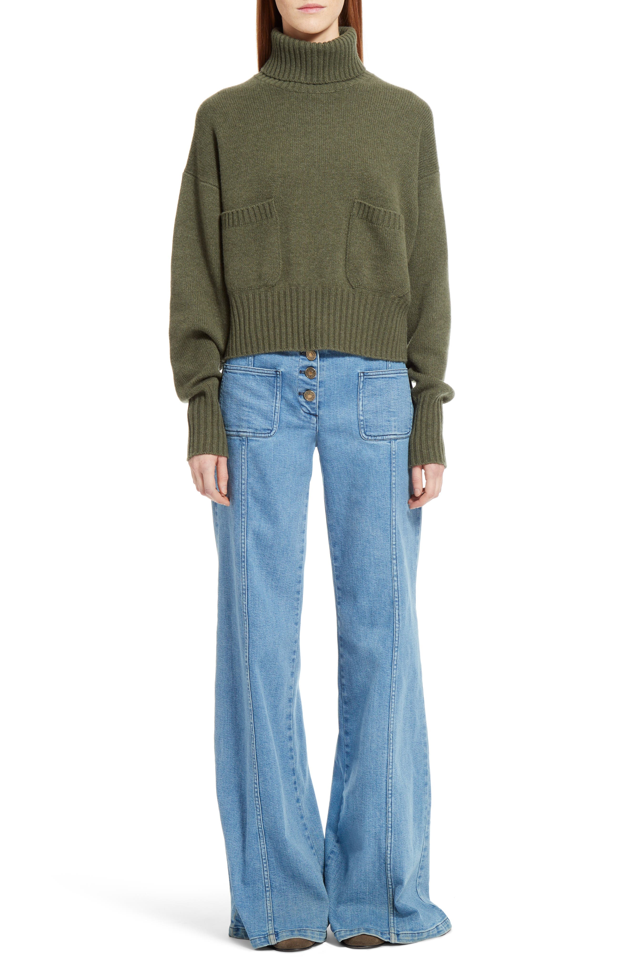 Iconic Cashmere Turtlenck Sweater,                         Main,                         color, Night Forest
