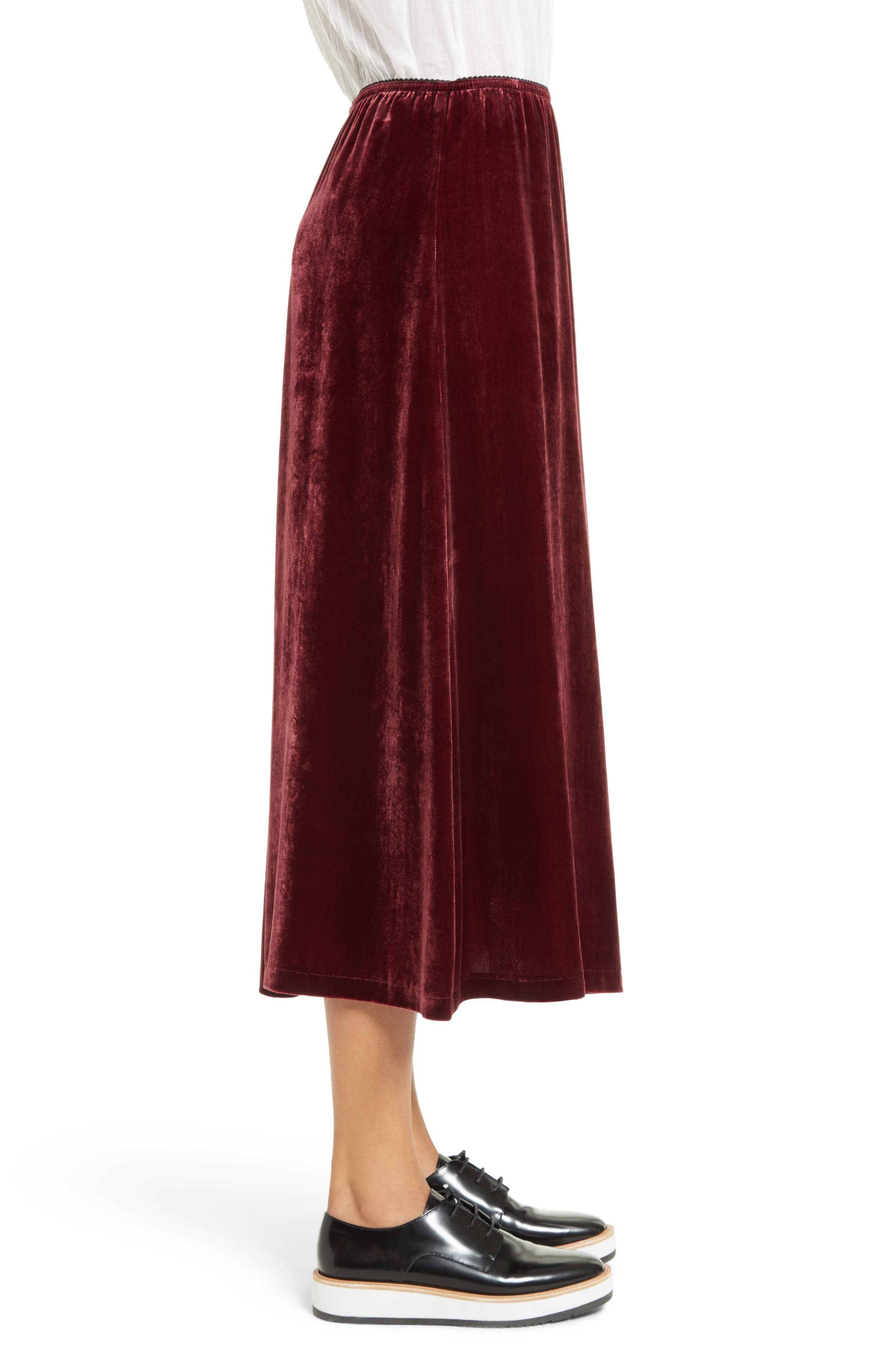 Velvet Midi Skirt,                             Alternate thumbnail 4, color,                             Wine