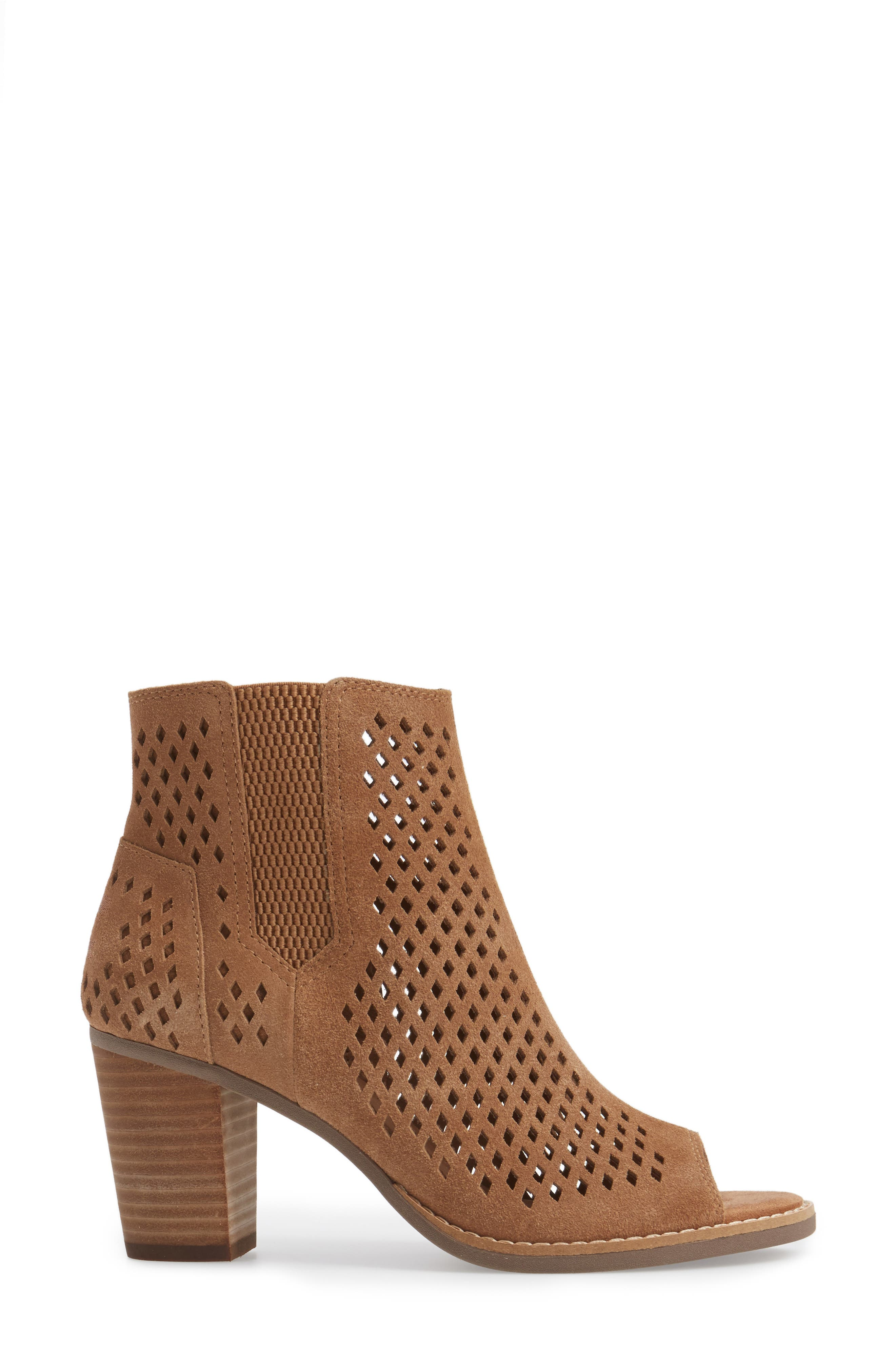 Majorca Peep Toe Bootie,                             Alternate thumbnail 4, color,                             Toffee Suede