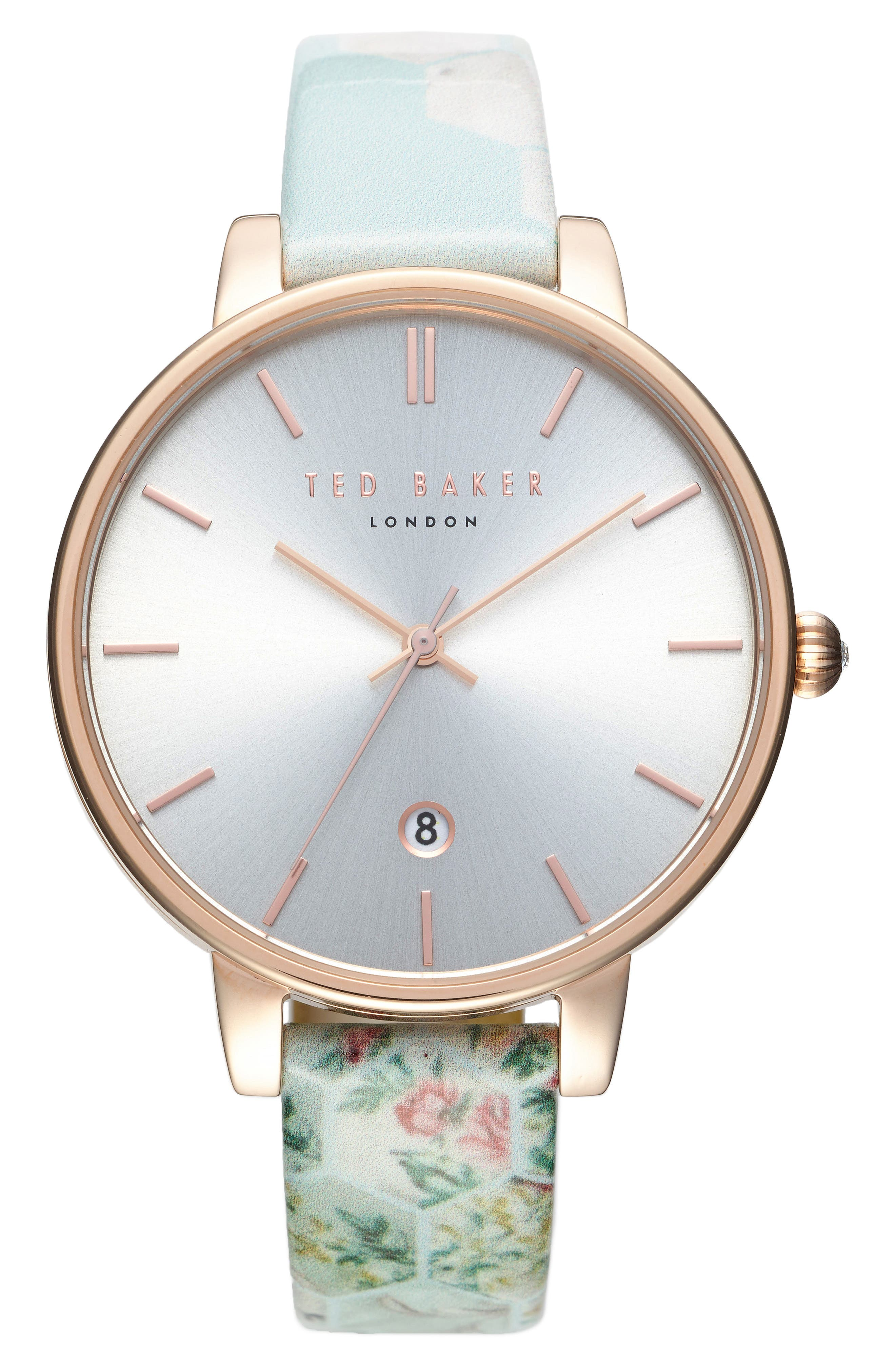 Kate Print Leather Strap Watch, 38mm,                         Main,                         color, Blue/ Silver/ Rose Gold