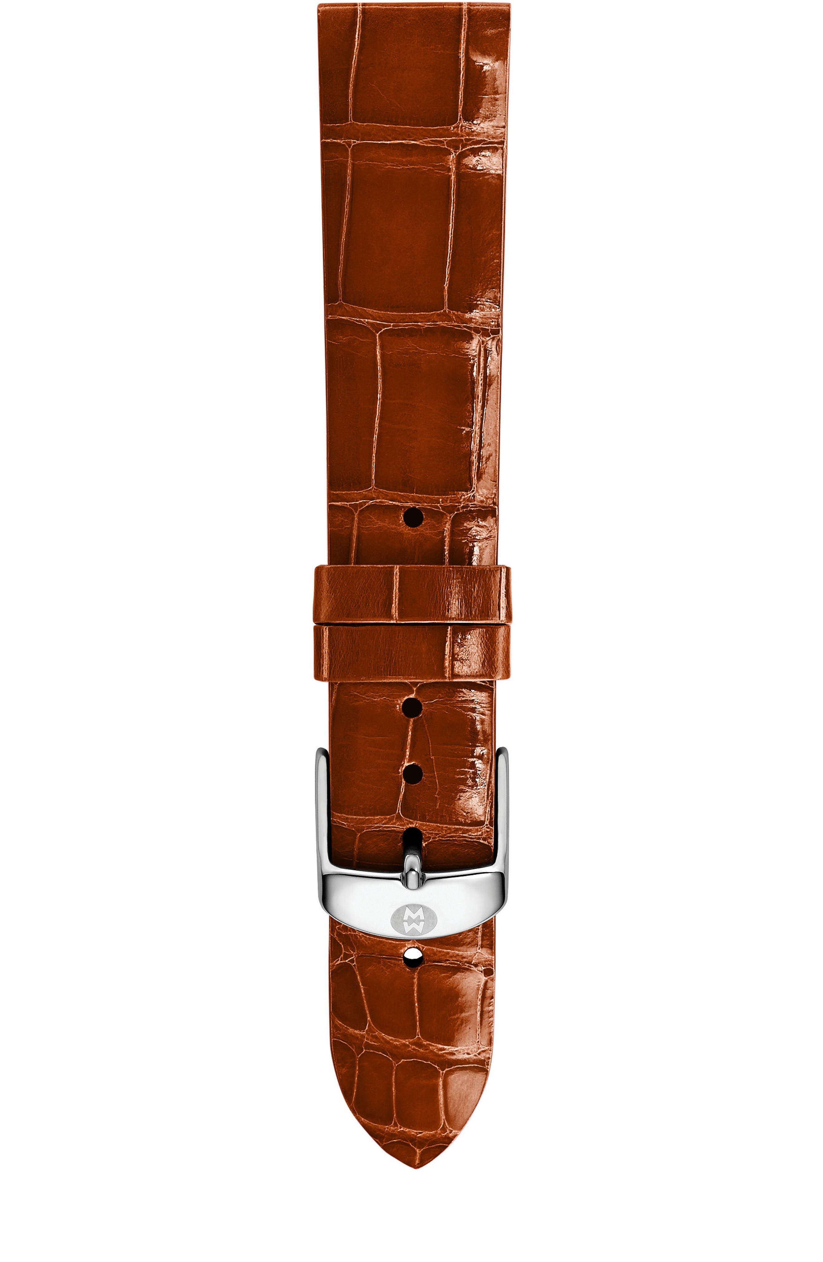 16mm Alligator Watch Strap,                         Main,                         color, Coffee