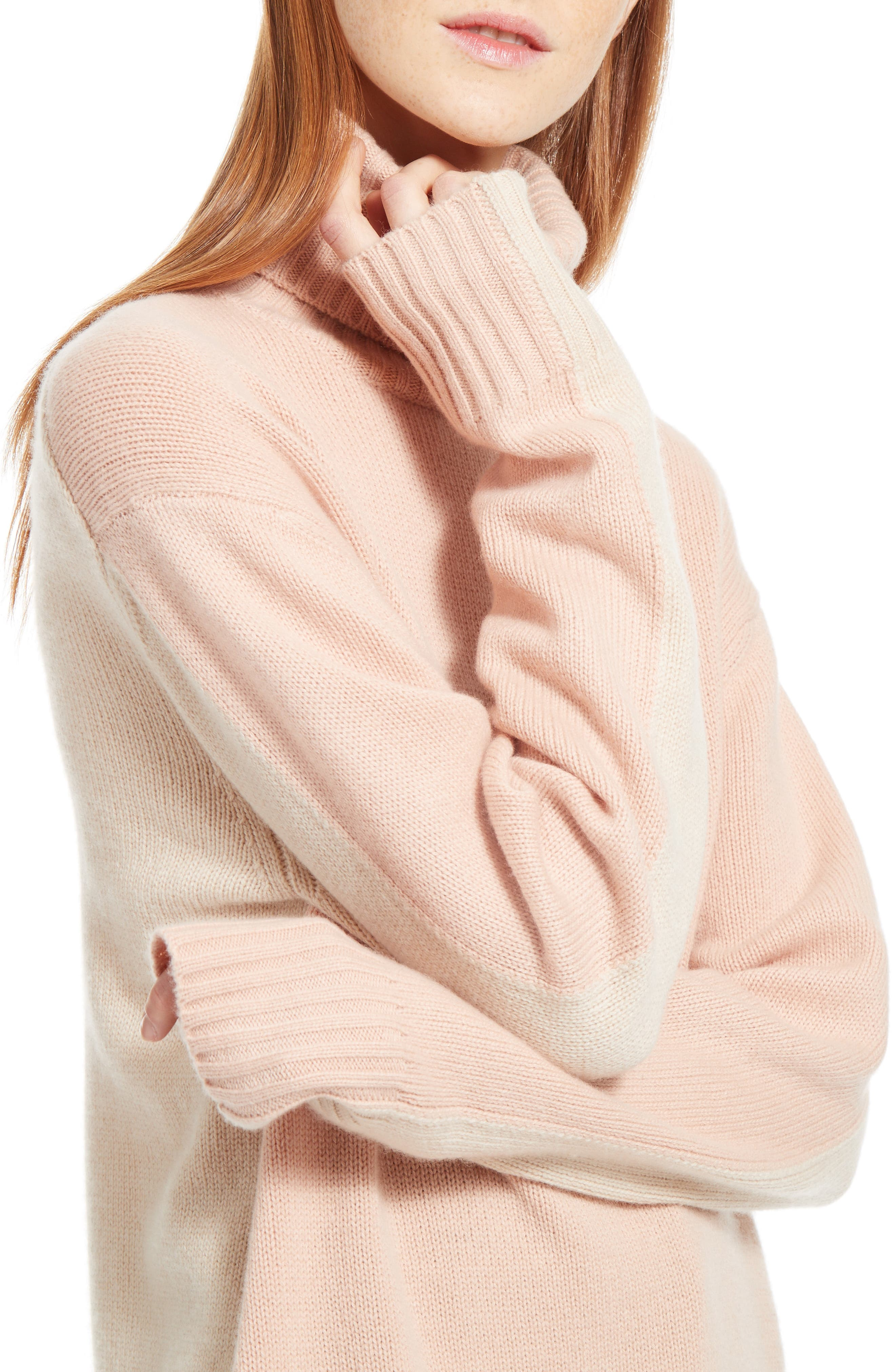 Colorblock Cashmere Turtleneck Sweater,                             Alternate thumbnail 6, color,                             Pink/ Beige