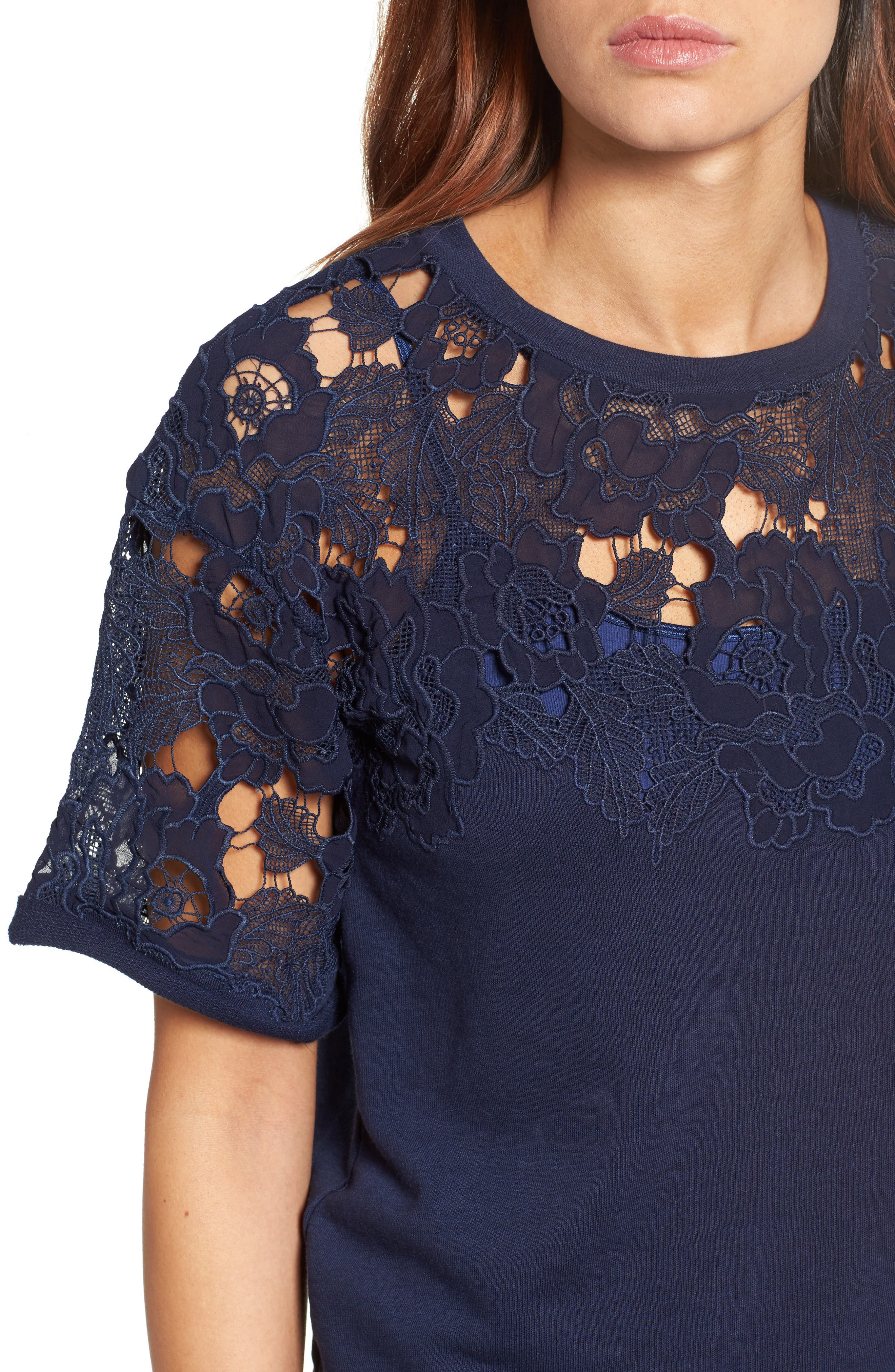 Alternate Image 4  - Halogen® Lace Detail Sweatshirt