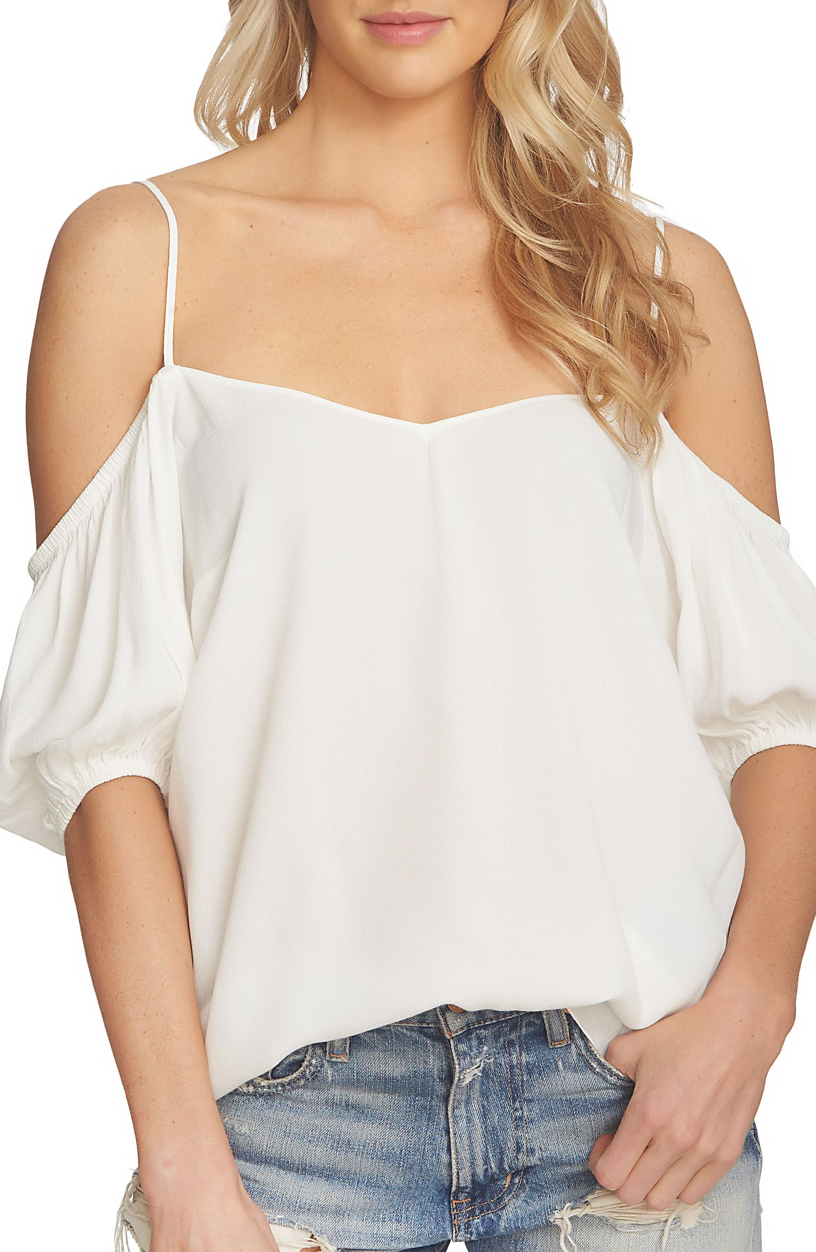 Main Image - 1.STATE Balloon Sleeve Off the Shoulder Top