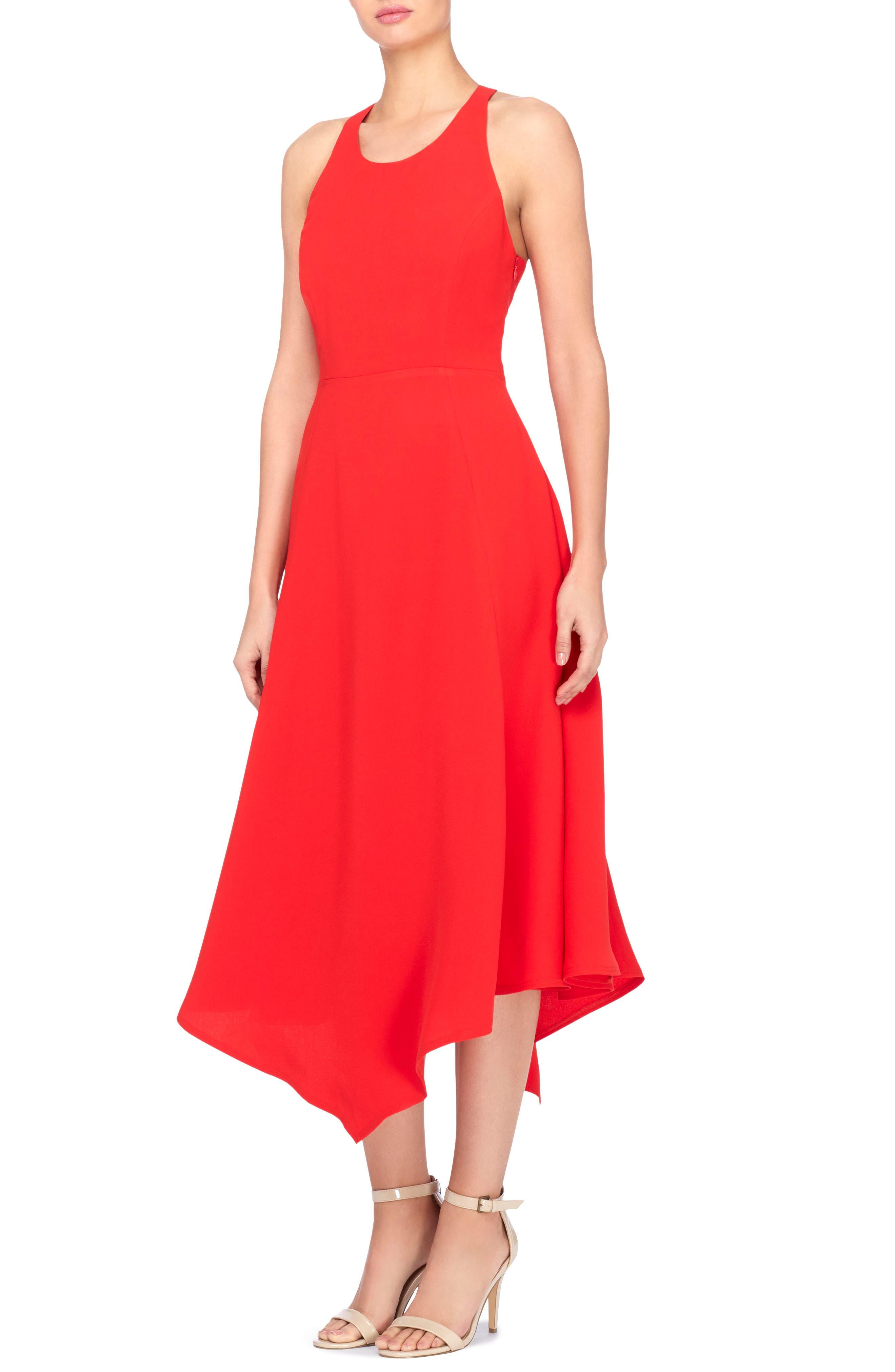Reggie T-Back Fit & Flare Dress,                             Main thumbnail 1, color,                             Tomato Red