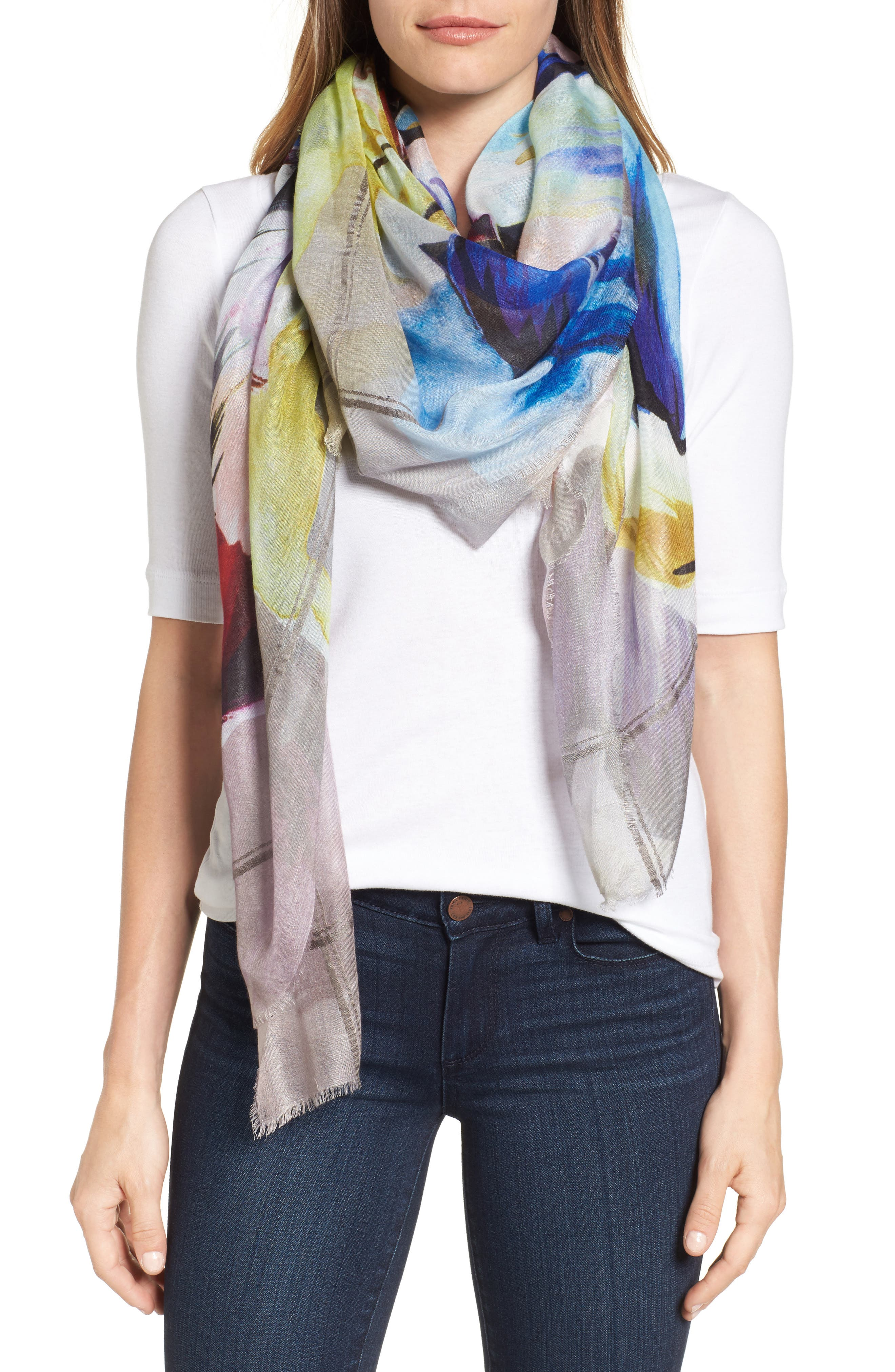 Cuba Blooms Square Scarf,                         Main,                         color, Stone
