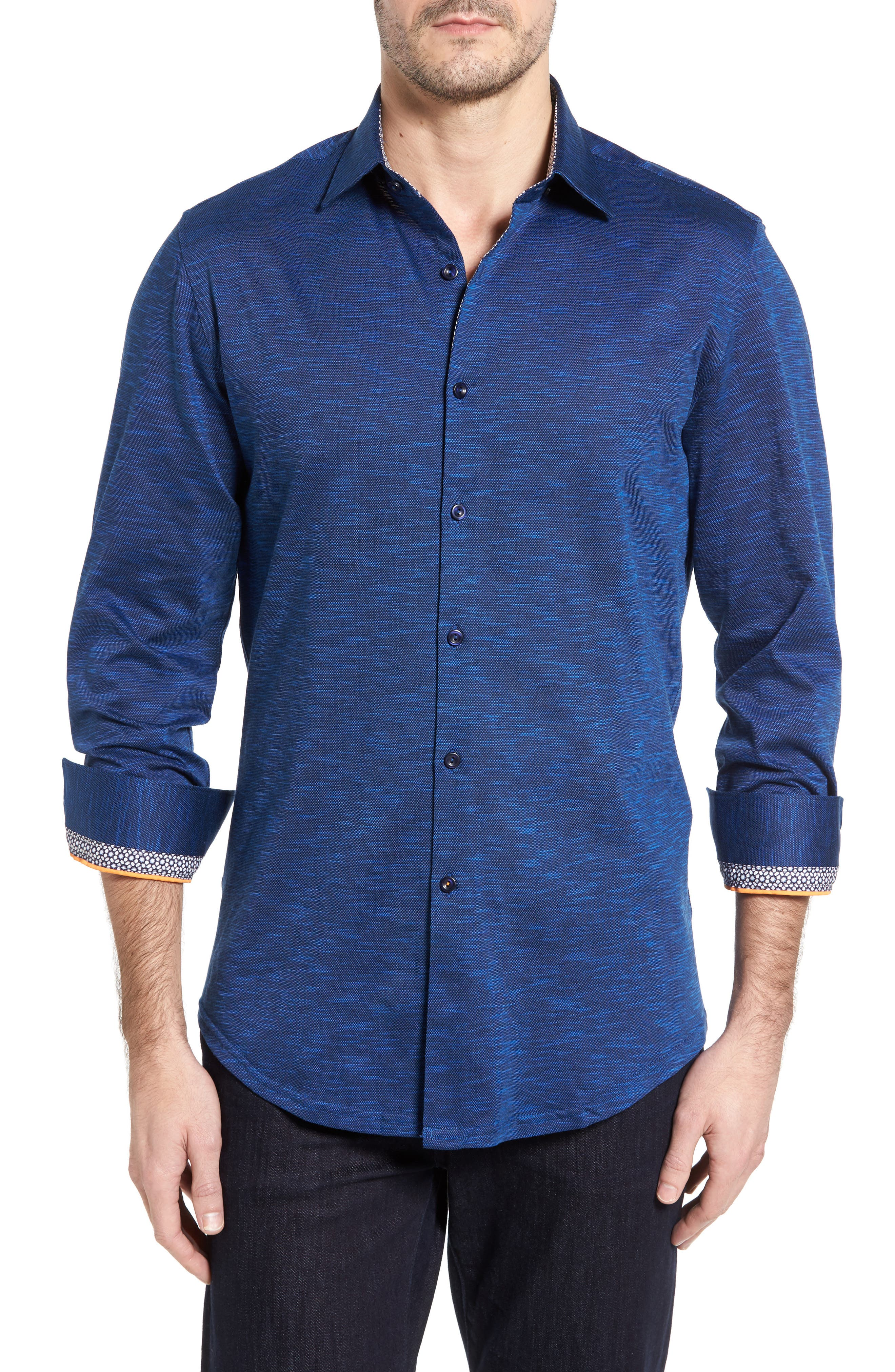 Flamé Knit Sport Shirt,                         Main,                         color, Navy